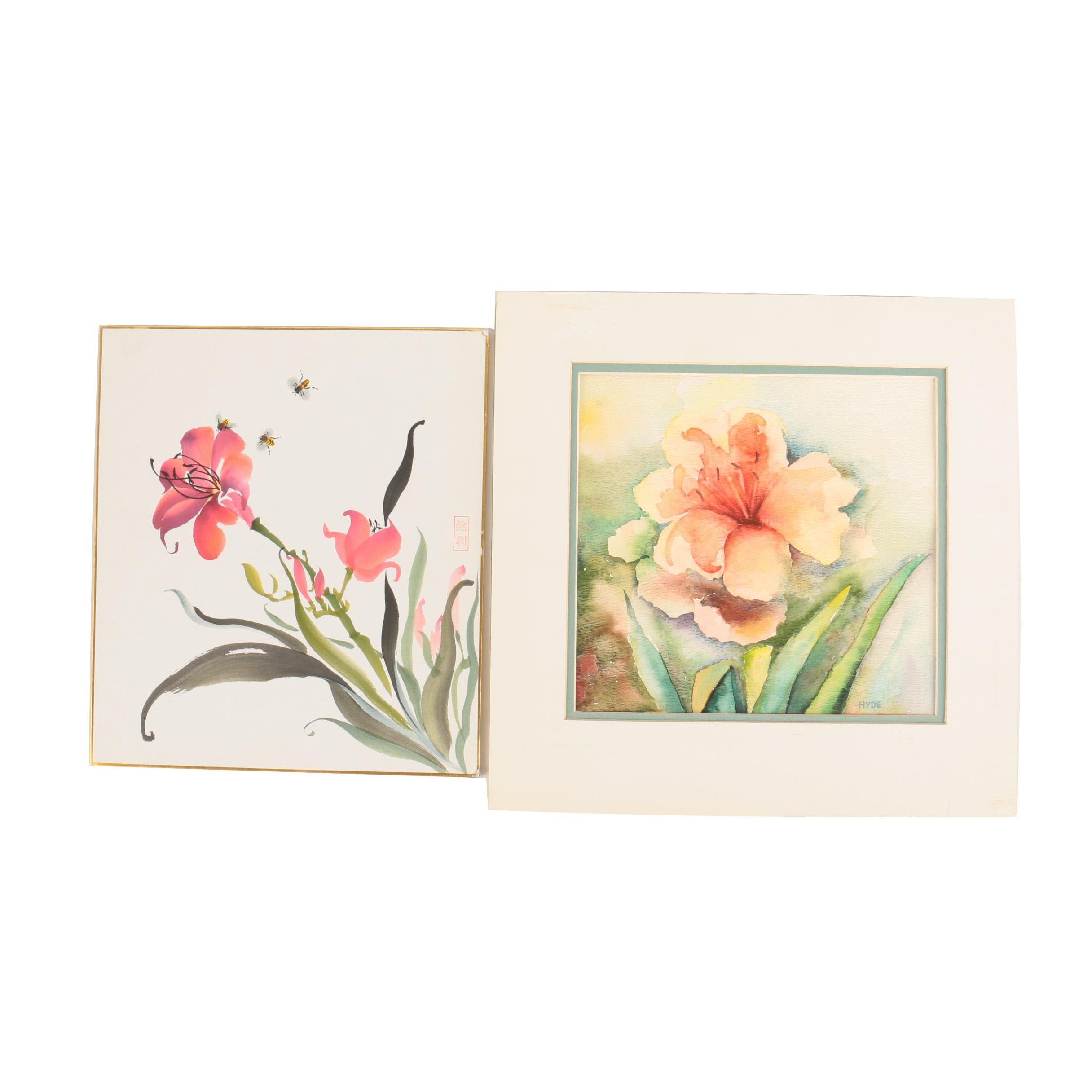Watercolor Paintings on Paper of Flowers