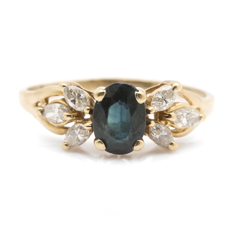 14K Yellow Gold 1.01 CT Sapphire and Diamond Ring