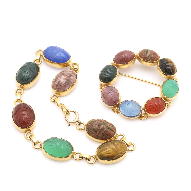 Van Dell 14K Yellow Gold Multi Gemstone Scarab Link Bracelet and Brooch