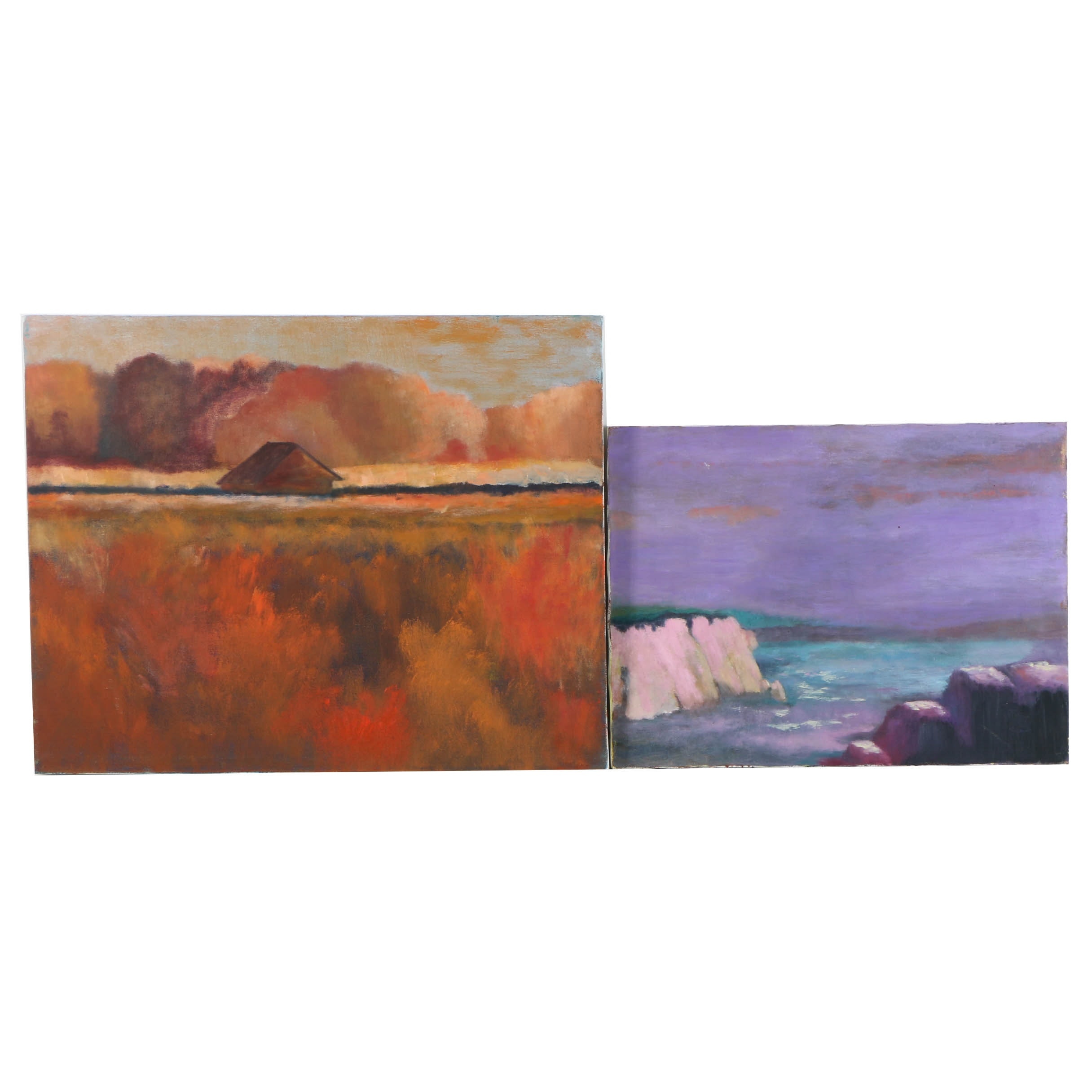 Pair of Oil Paintings on Canvas of Abstract Landscapes
