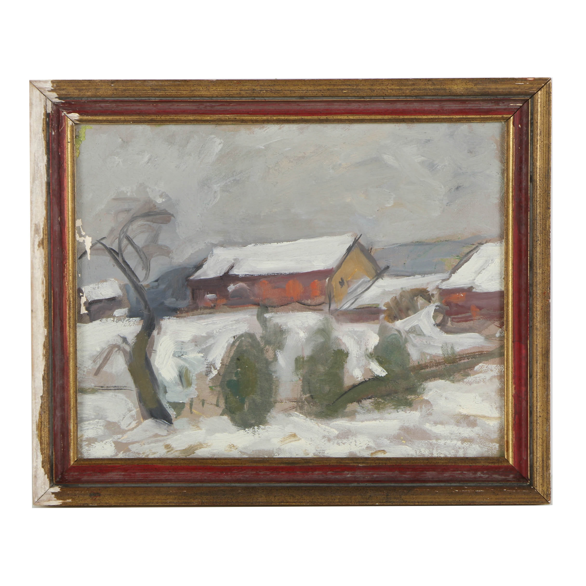 Oil Painting on Canvas Panel of Rural Winterscape