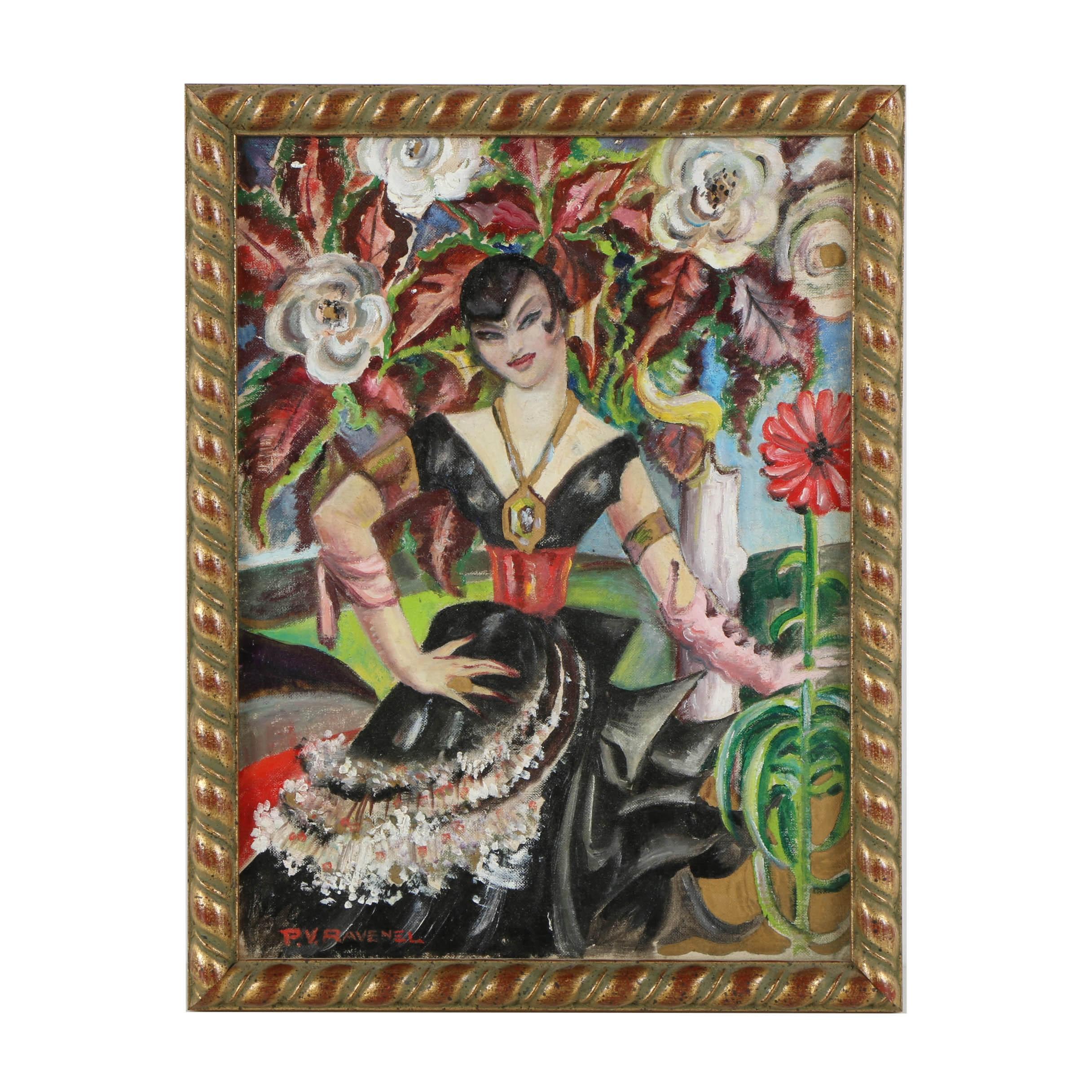 Pamela Ravenel Oil Painting on Canvas Board of a Female Portrait