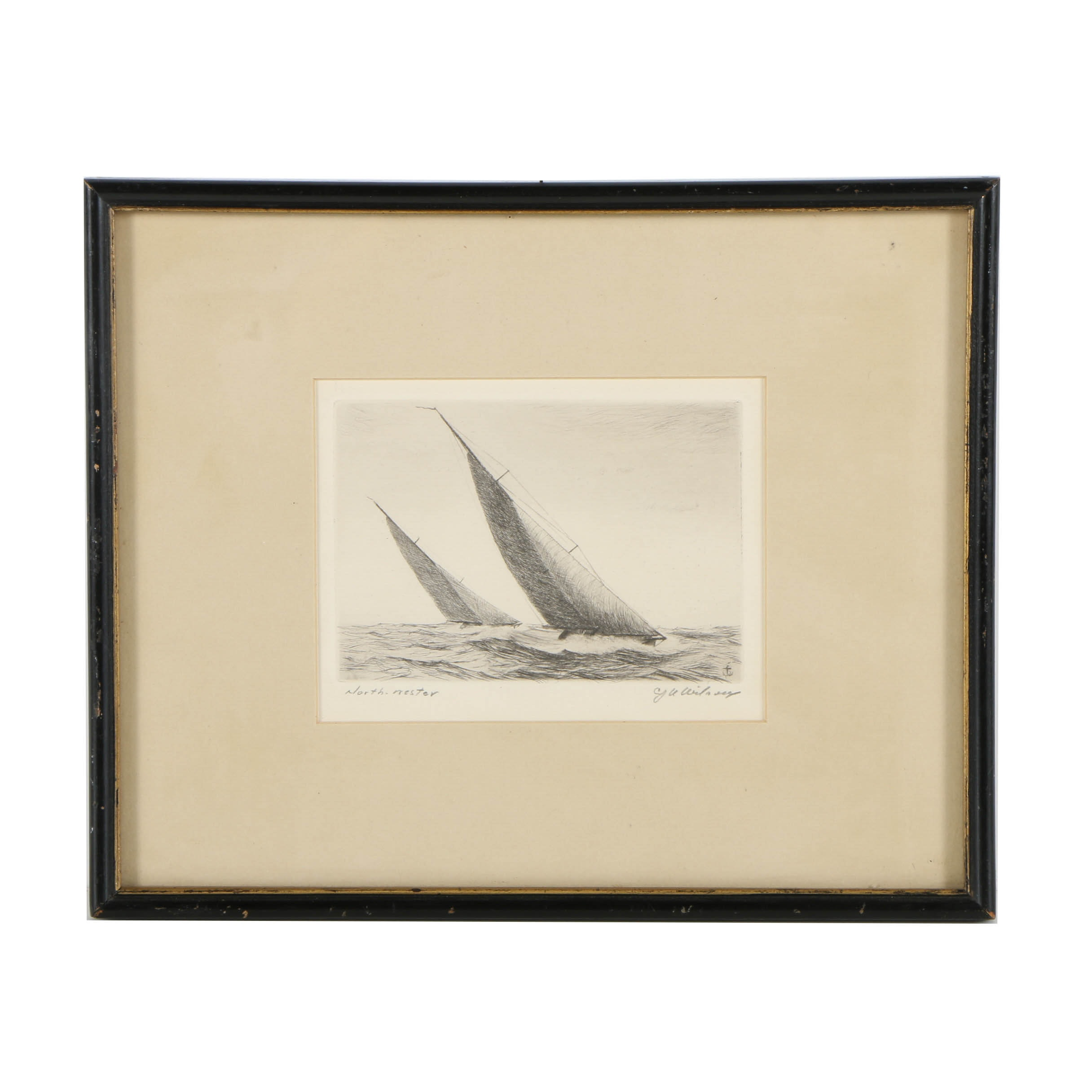 """Charles J. A. Wilson Etching on Paper """"North-Wester"""""""