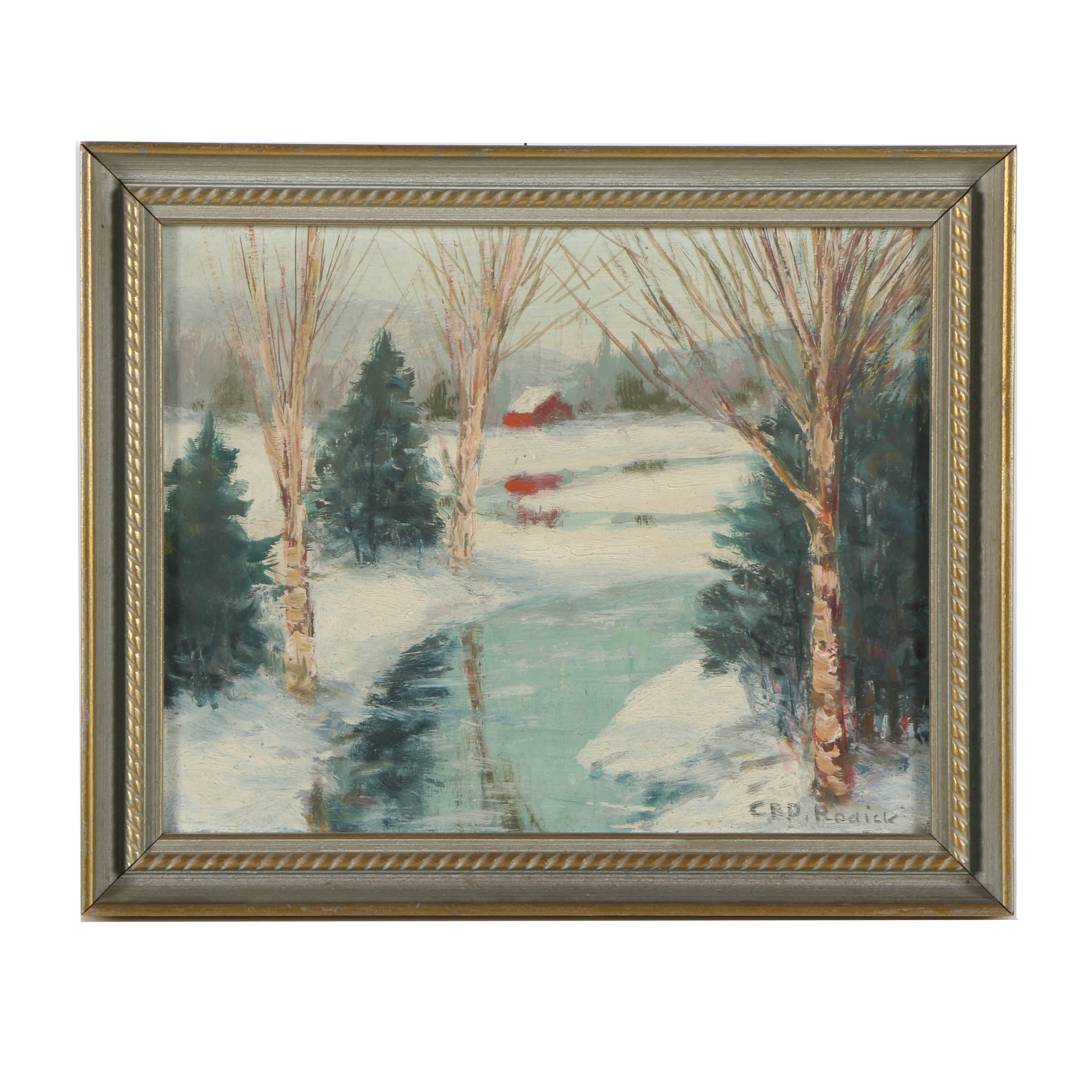 Attributed to Charles E.D. Rodick Oil Painting on Board of a Snowy Lake Scene