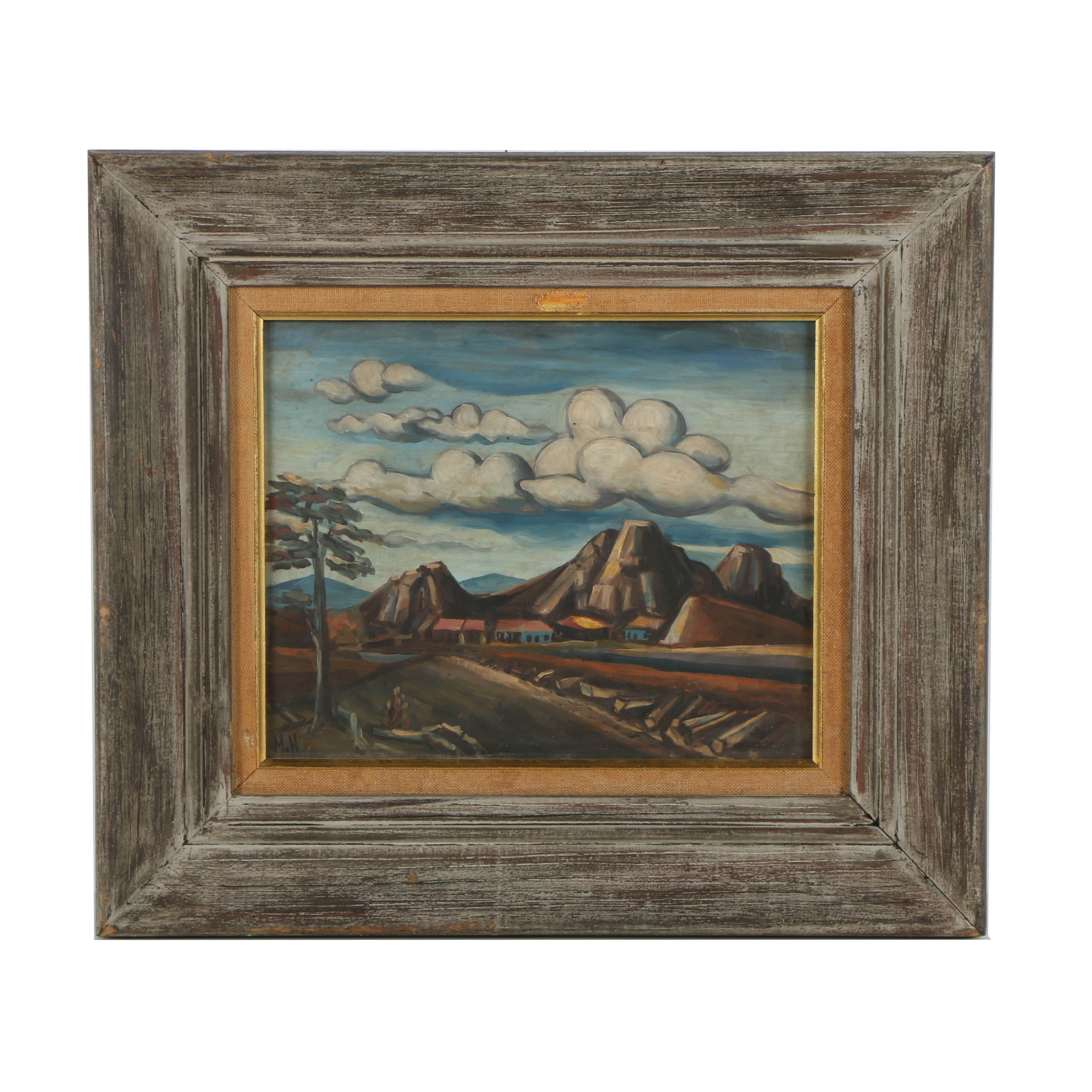 Oil Painting on Board of a Mountain Landscape