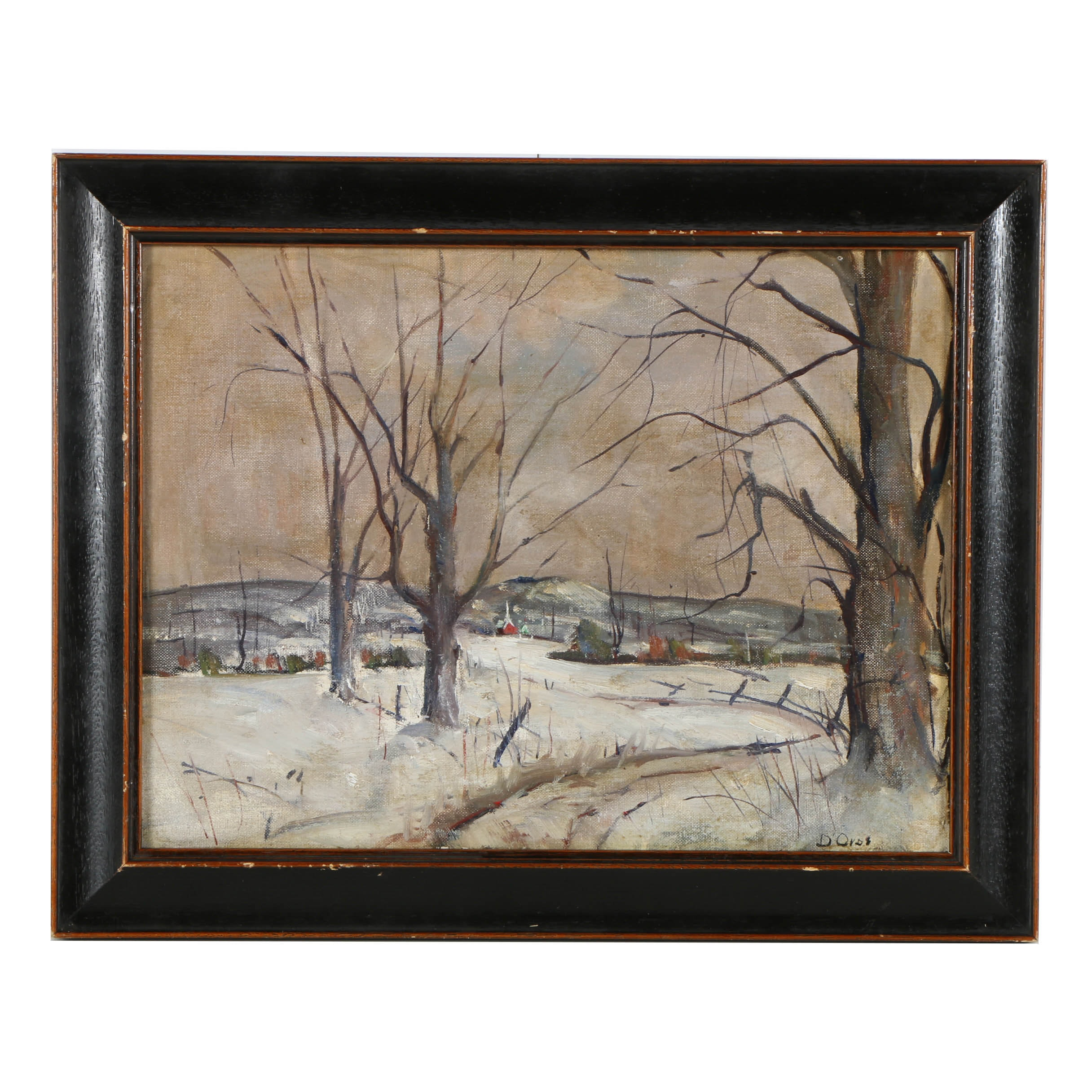 Oil Painting on Canvas Board of a Snowy Landscape