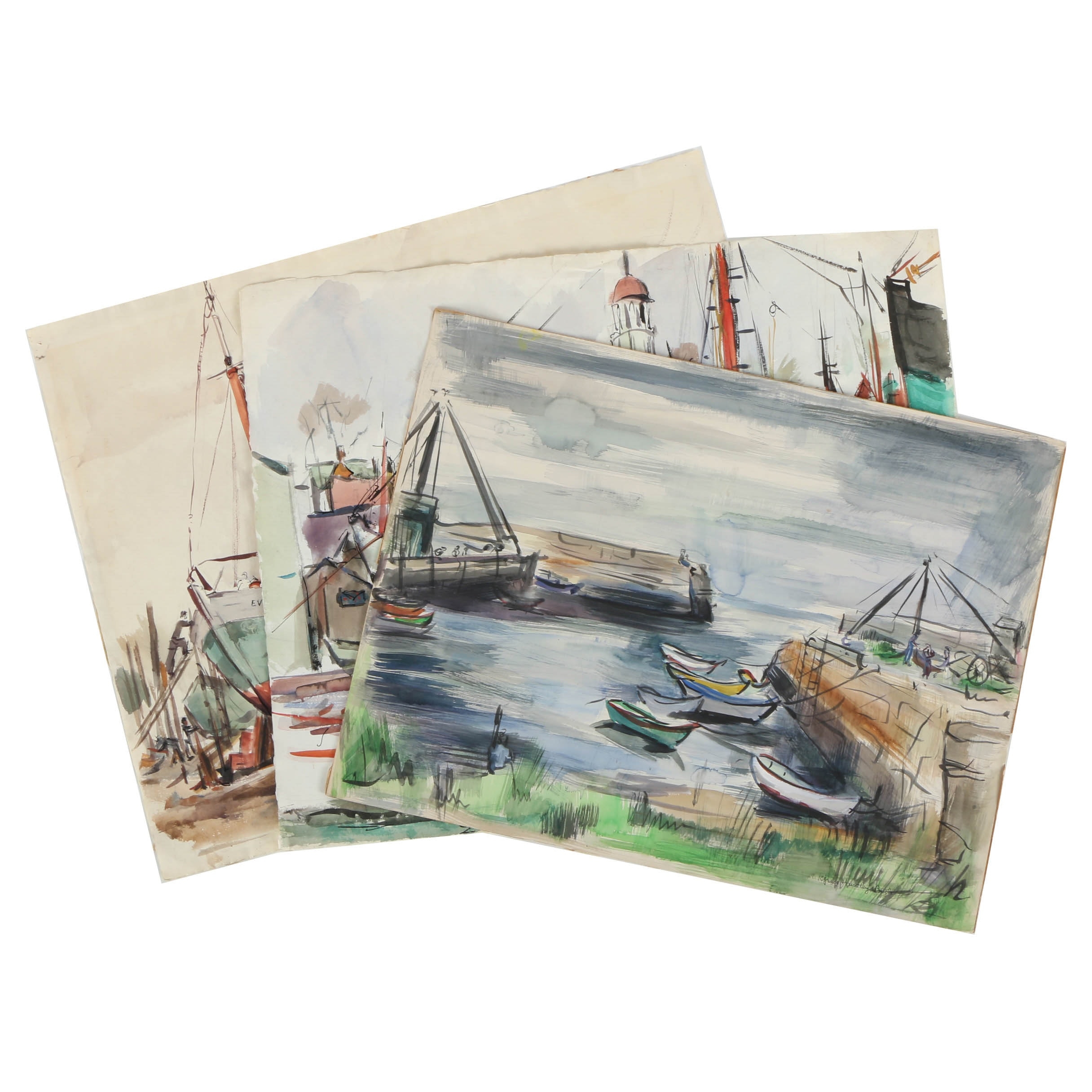 Collection of Grace Huntley Pugh Watercolor Paintings on Paper of Harbor Scenes