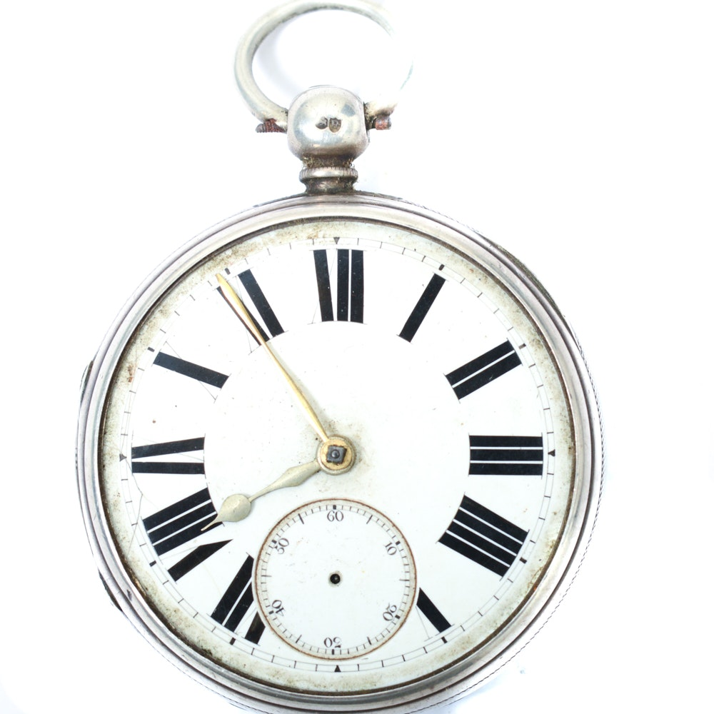 Antique Sterling Silver 1877 London Pocket Watch