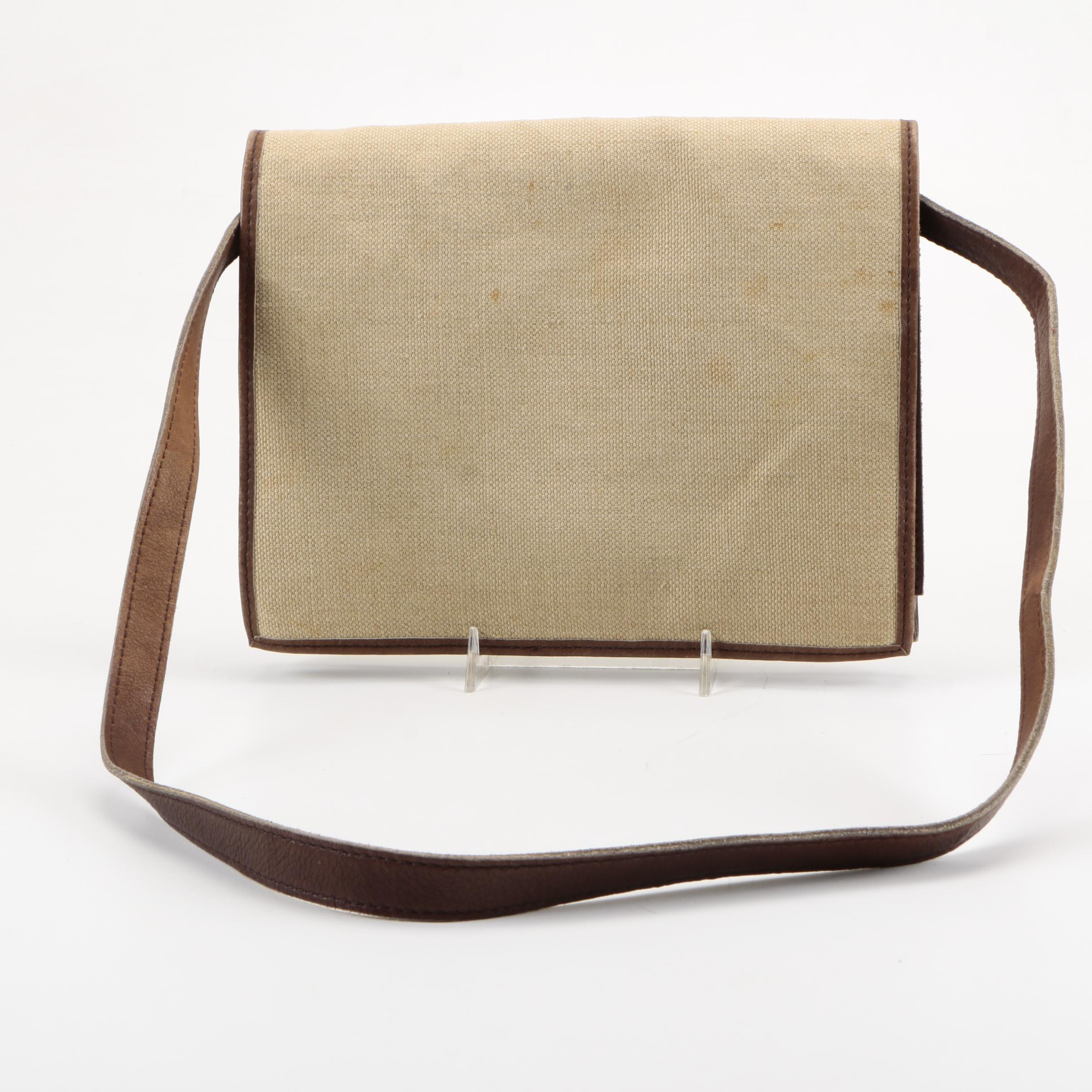 Yves Saint Laurent Brown Leather and Natural Canvas Bag