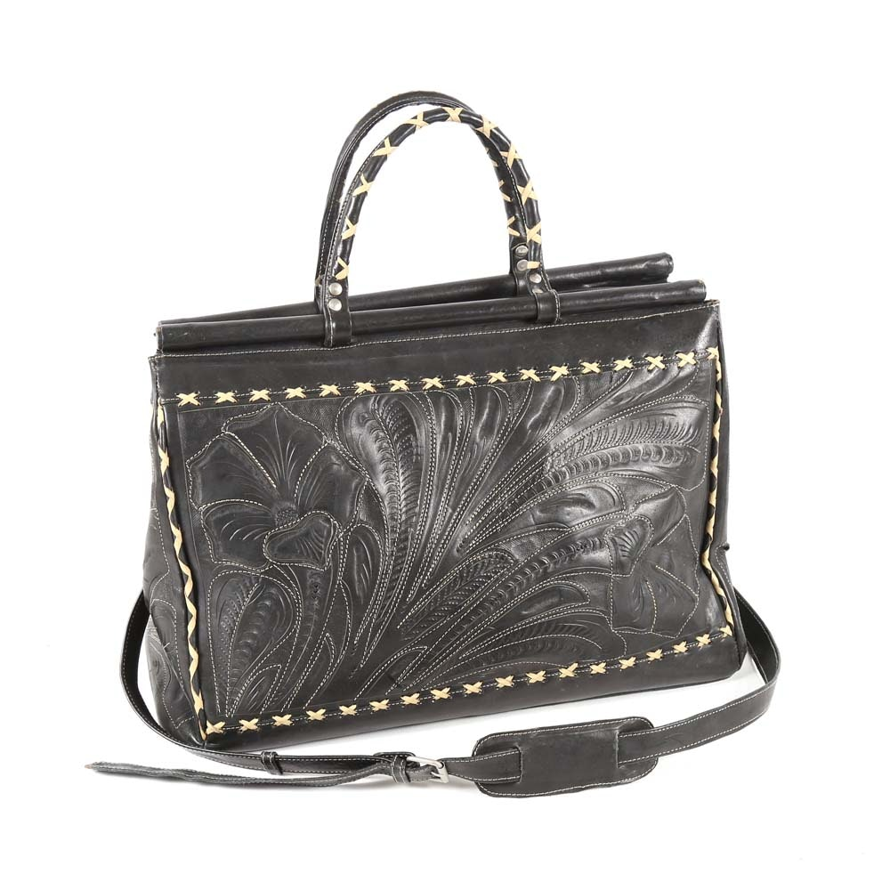Leaders in Leather Hand Tooled Black Leather Tote Bag