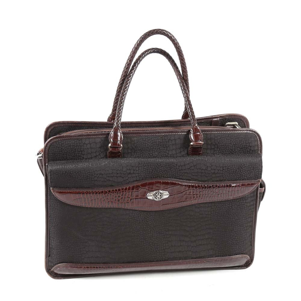 Brighton Black Nylon Print and Embossed Brown Leather Briefcase Tote Bag