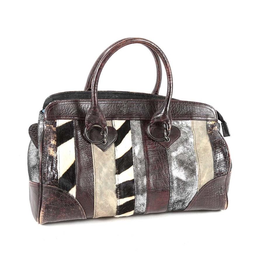 Beverly Feldman Patchwork Leather And Dyed Calf Hair Handbag