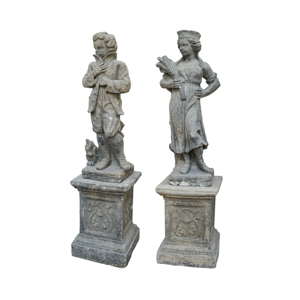 Pair of Cast Stone Statues
