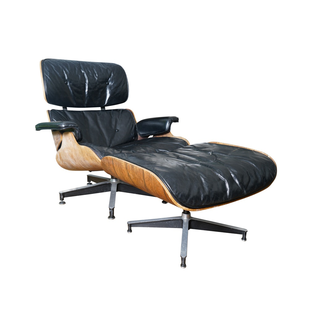 Charles Eames Leather Swivel Chair and Ottoman for Herman Miller
