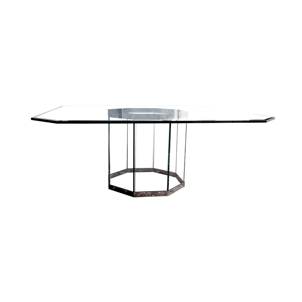 Contemporary Modernist Glass Top Dining Pedestal Table