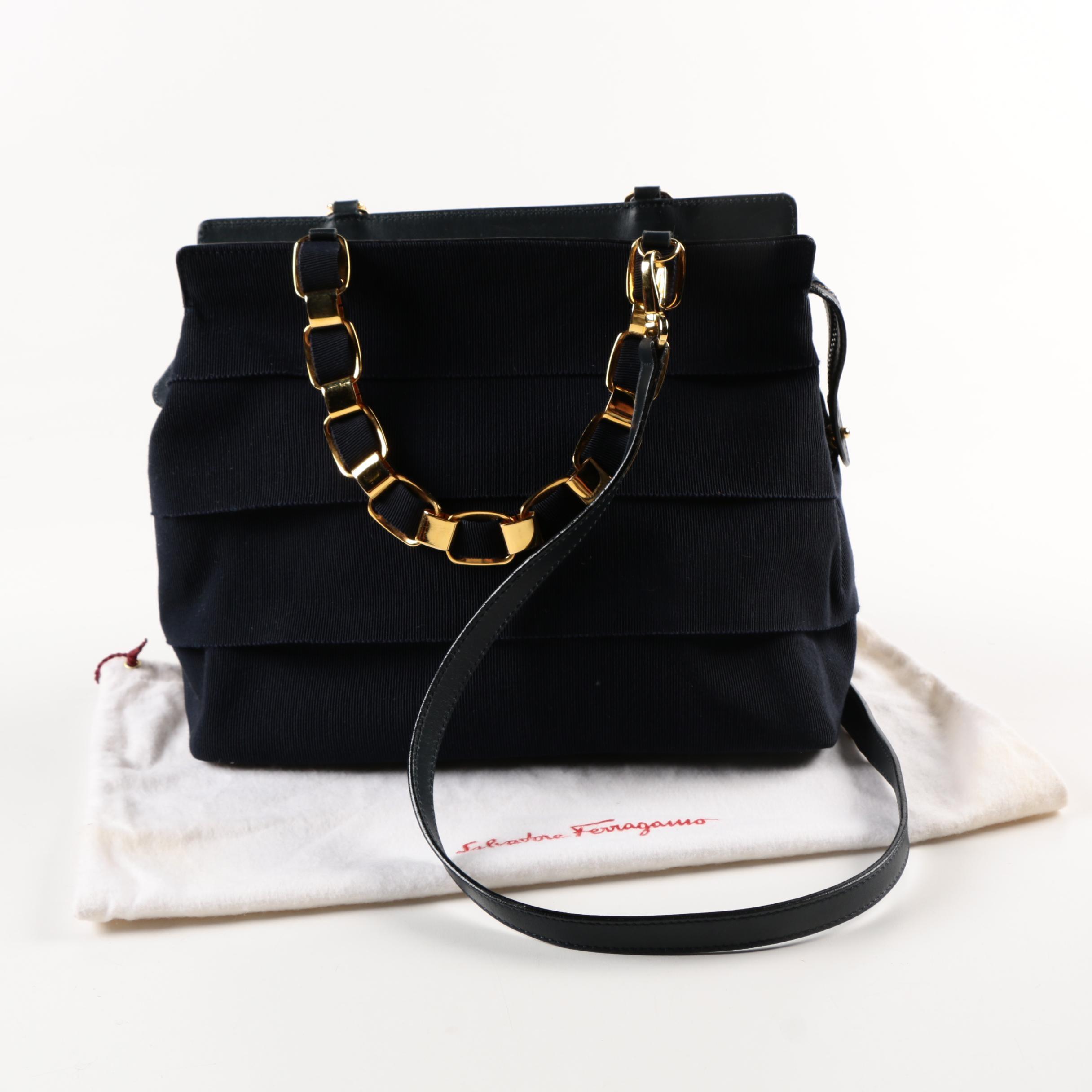 Salvatore Ferragamo Tiered Black Handbag