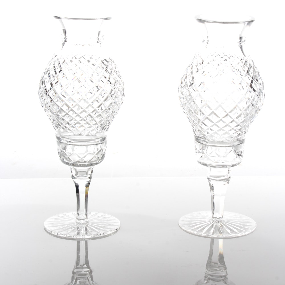Waterford Style Hurricane Lamp Pair