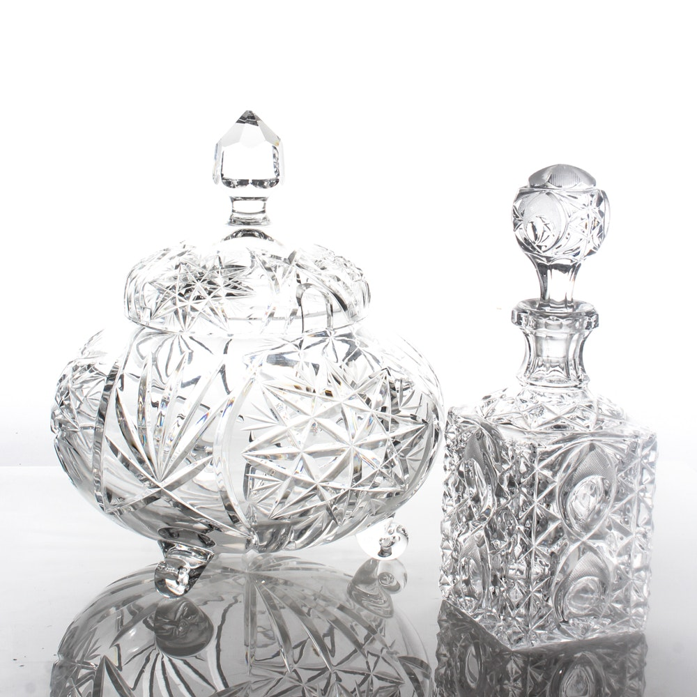 Crystal Decanter with Lidded Punch Bowl