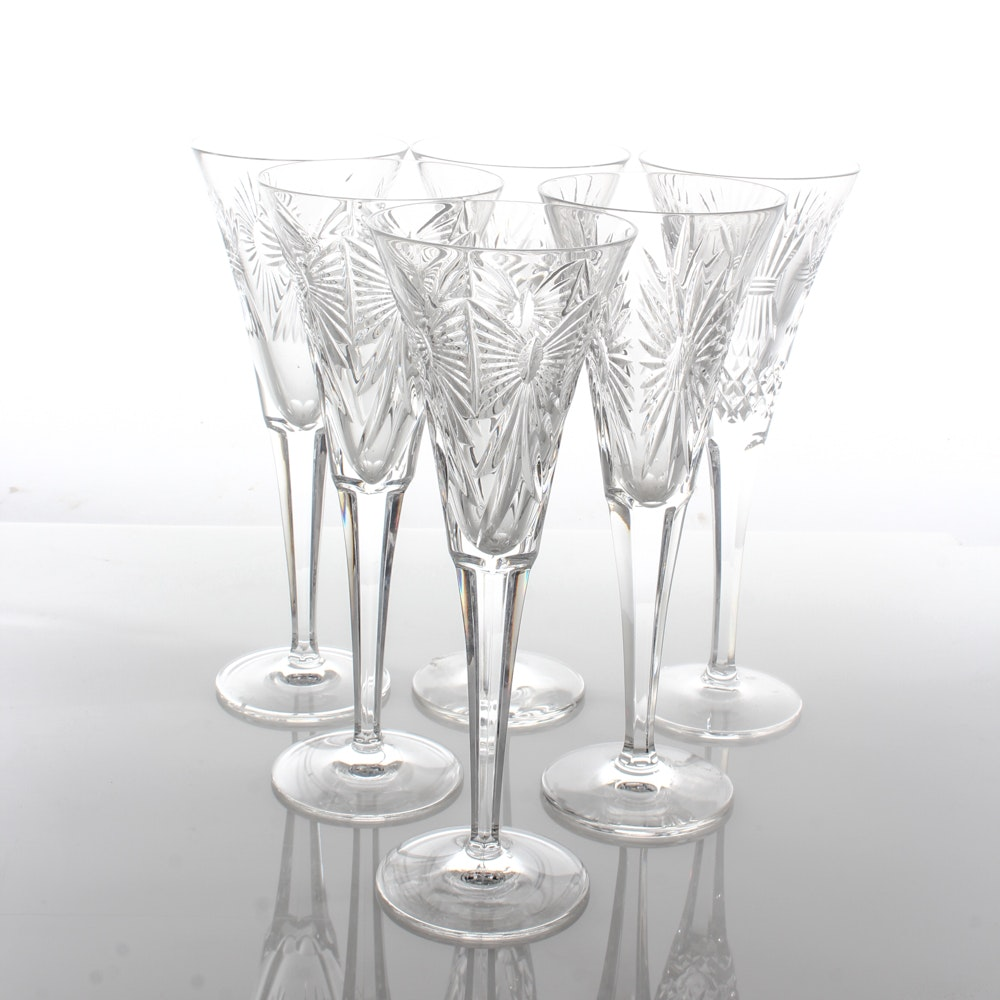 "Waterford ""Millennium"" Crystal Champagne Flutes"