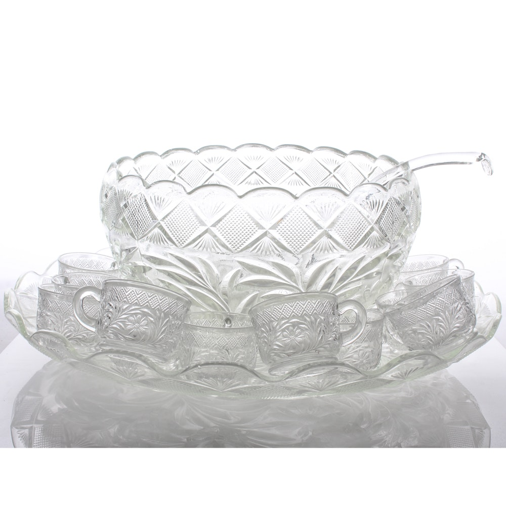 Vintage Pressed Glass Punch Bowl Set