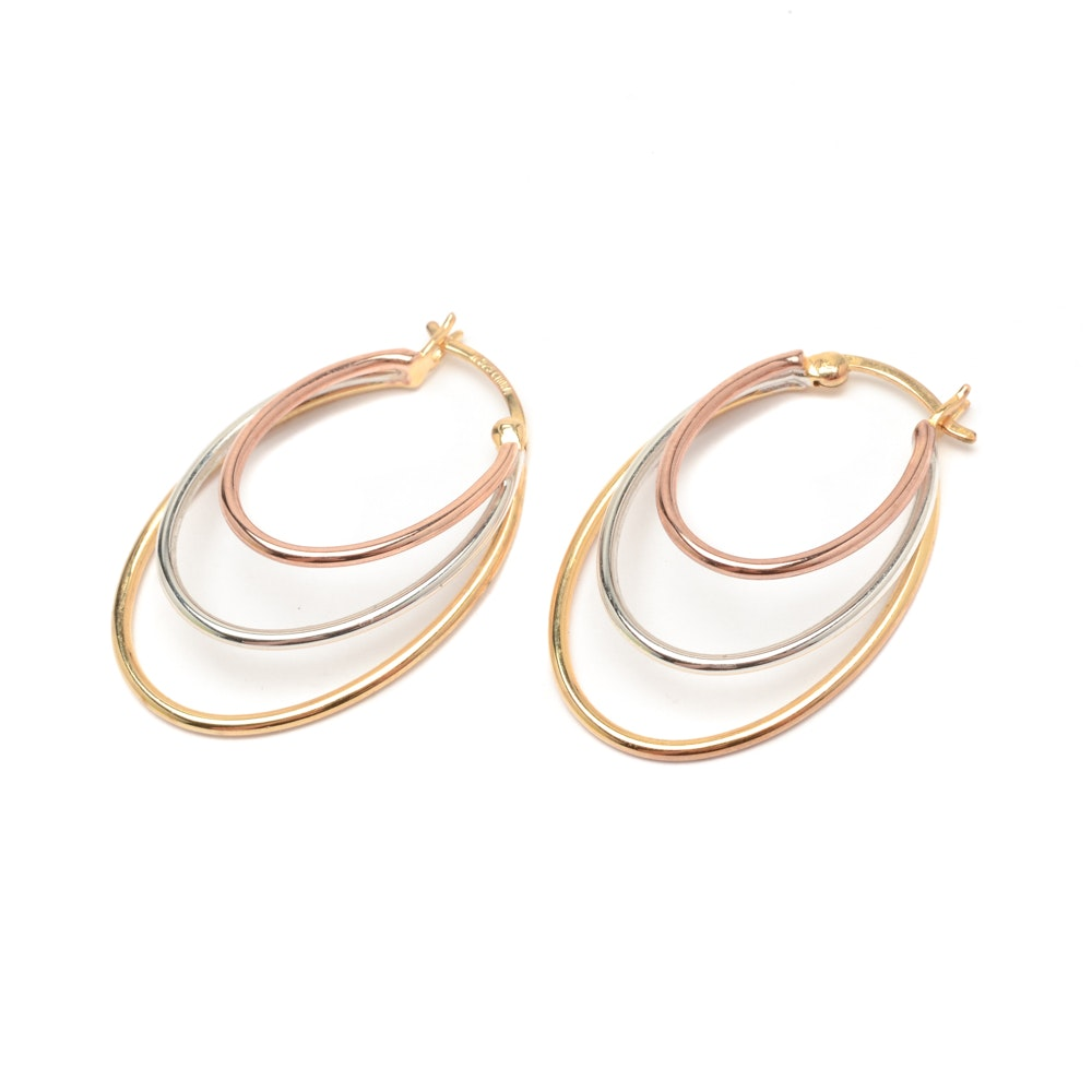 Pair of Tri-Color Gold Wash Over Sterling Silver Hoop Earrings