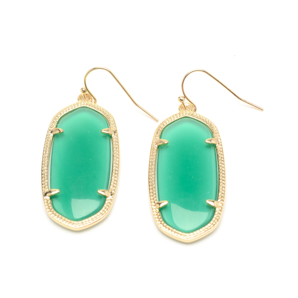 "Pair of Kendra Scott ""Elle"" Costume Green Glass Drop Earrings"