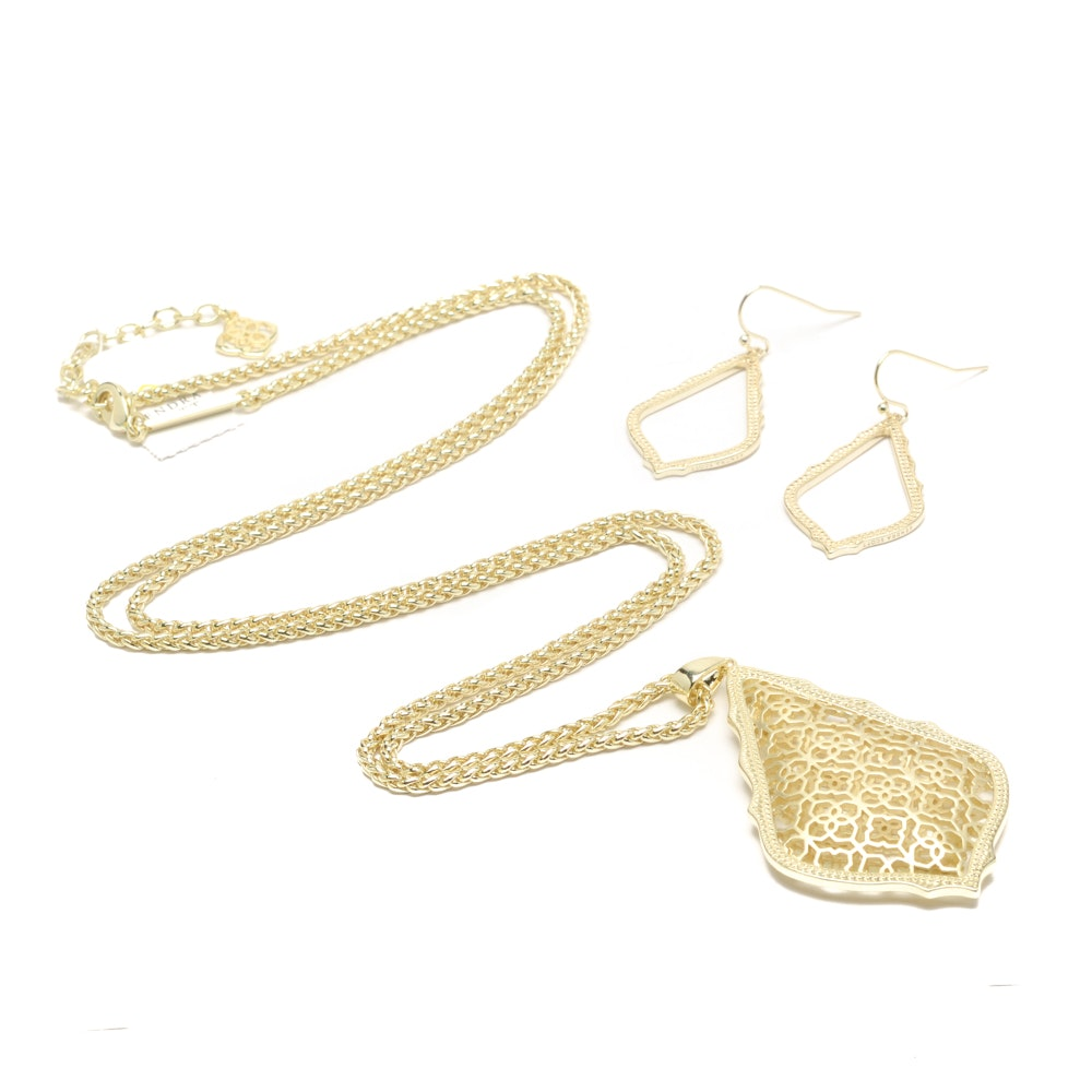"Kendra Scott Costume Jewelry Including ""Aiden"" Necklace and ""Sophia"" Earrings"