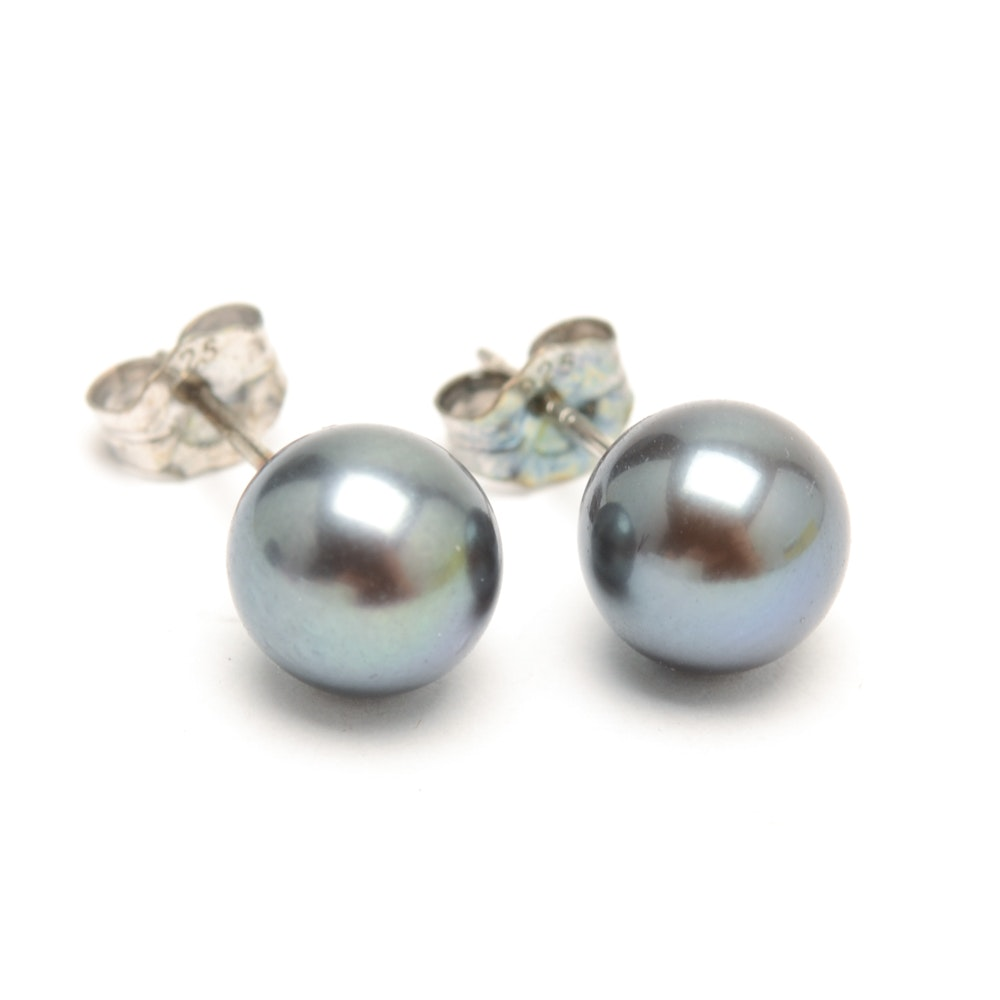 Pair of Sterling Silver Dyed Black Cultured Pearl Stud Earrings
