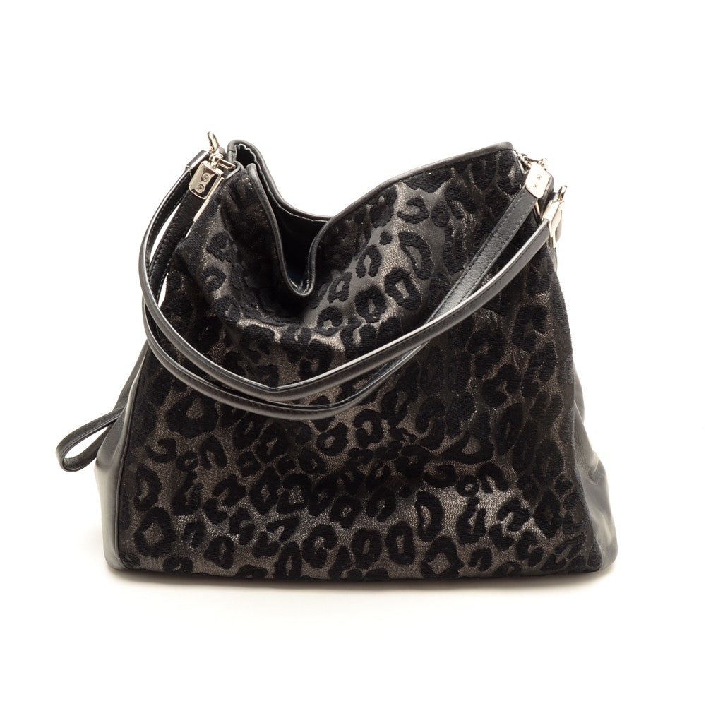 Coach Madison Phoebe Shoulder Bag in Black Ocelot