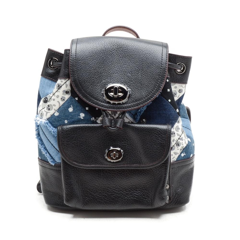 Coach Denim Patchwork Mini Backpack