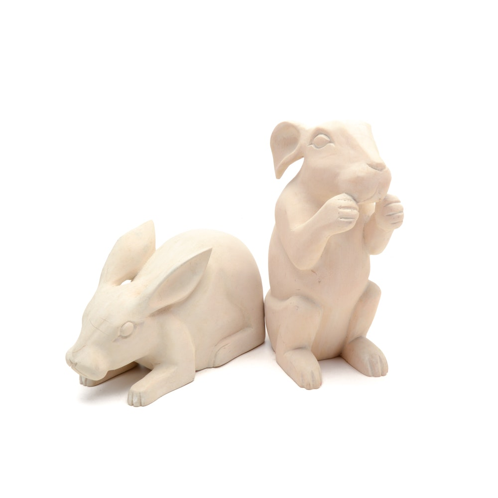 Two Wood Carved Rabbits