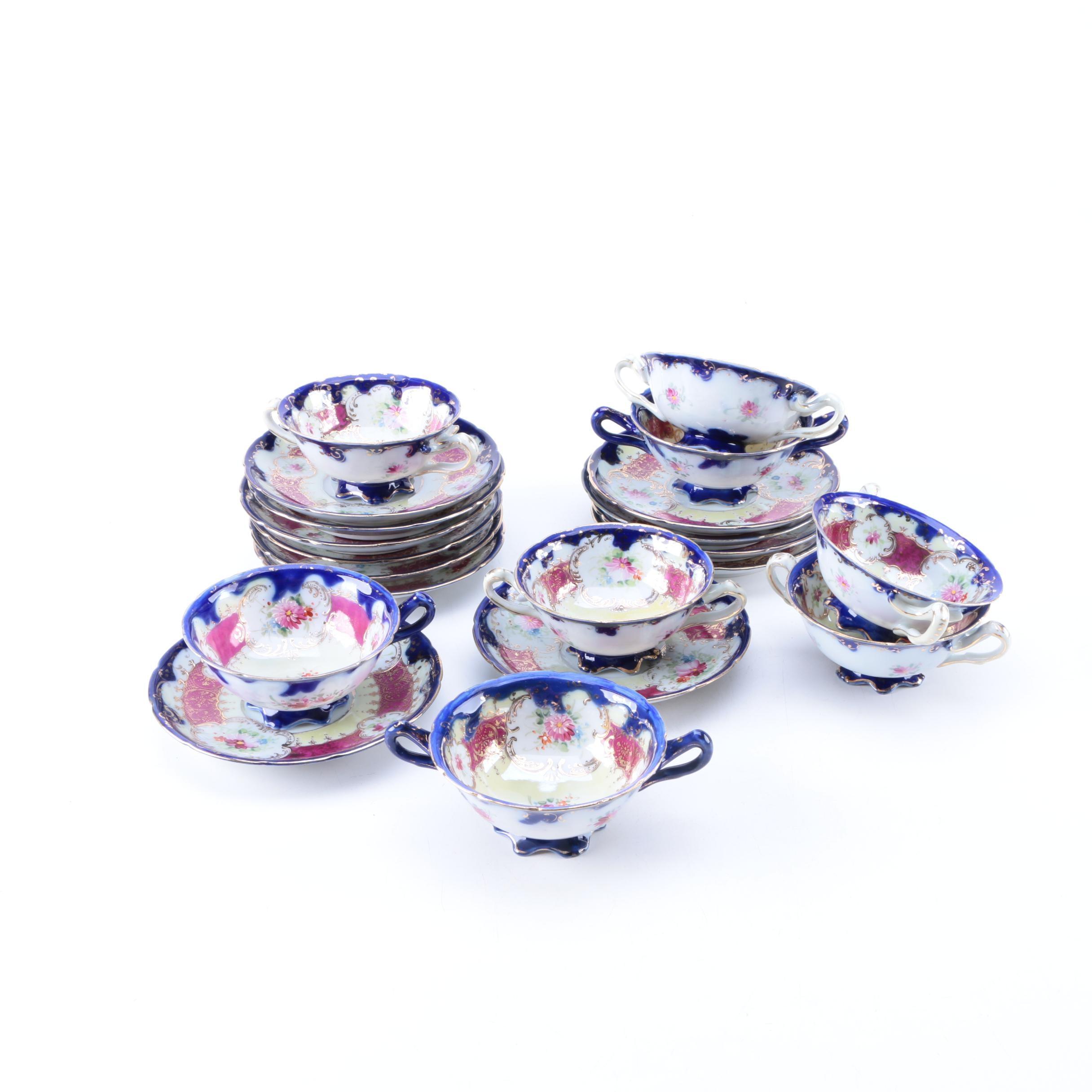 Antique Porcelain Bouillon Cups and Saucers