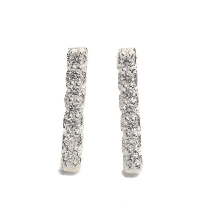 Pair of Chamilia Sterling Silver Crystal Seven Day Vertical Bar Earrings