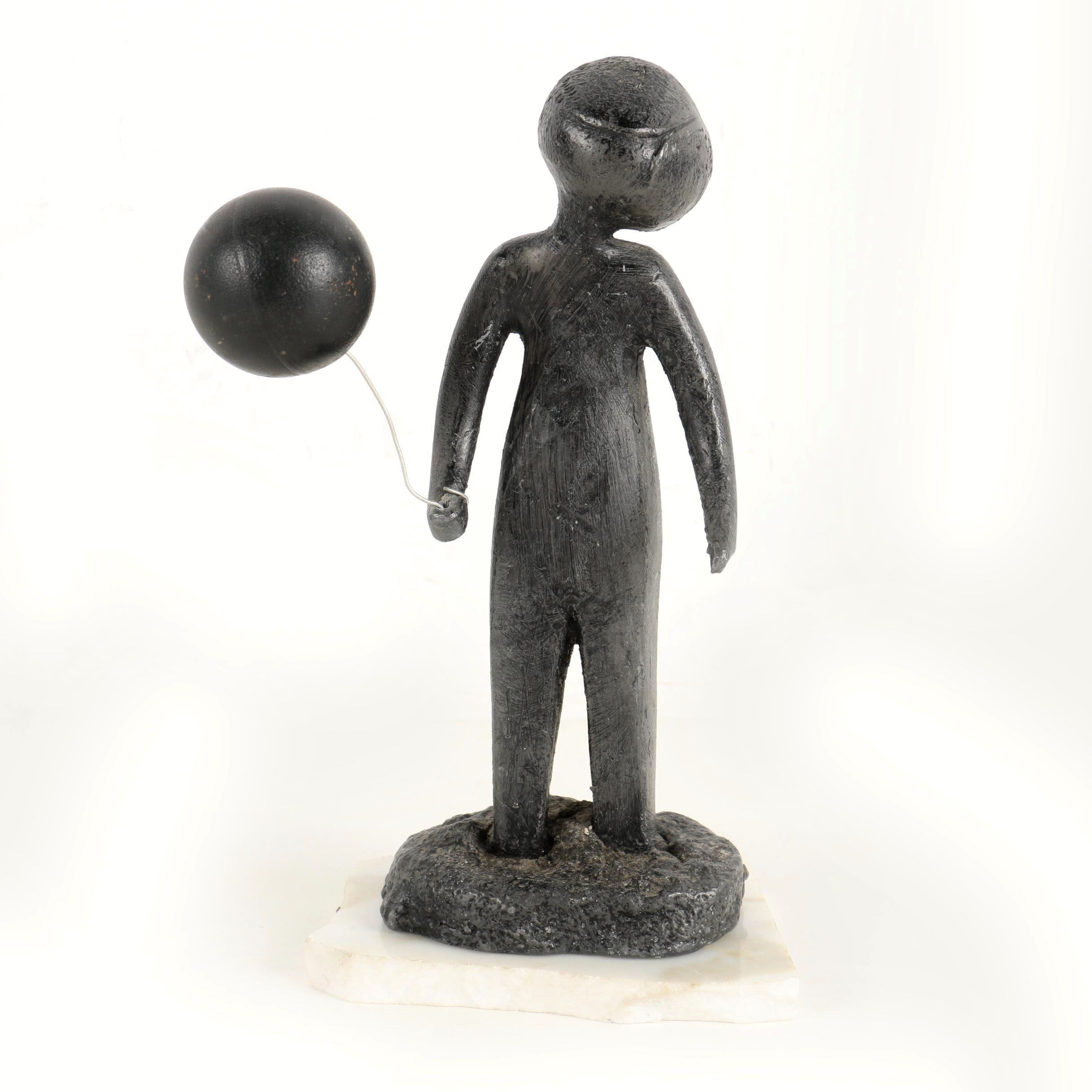 Lead Alloy Sculpture of Figure with Balloon