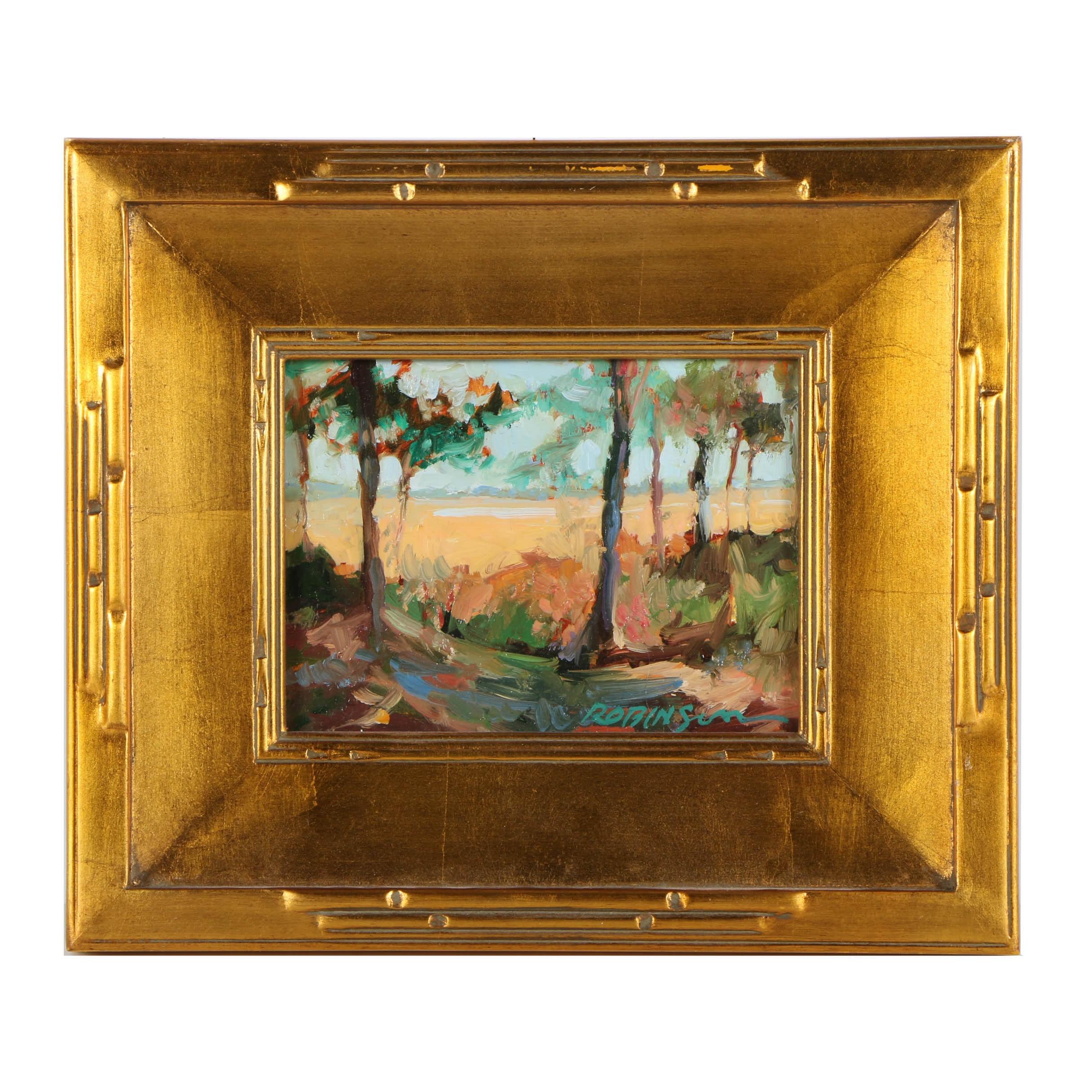 "Lori Keith Robinson Oil Painting on Board ""Skidaway Pines"""