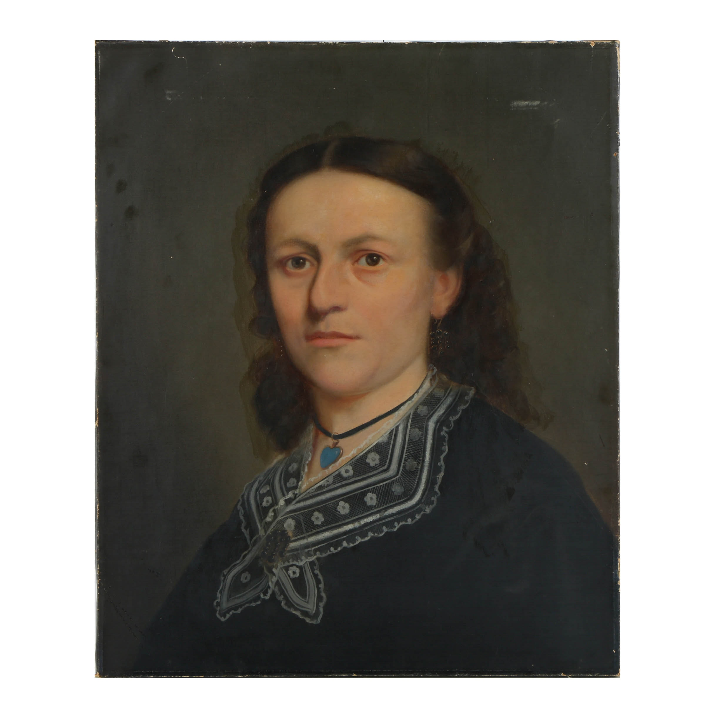 19th Century Oil Painting on Canvas of a Portrait