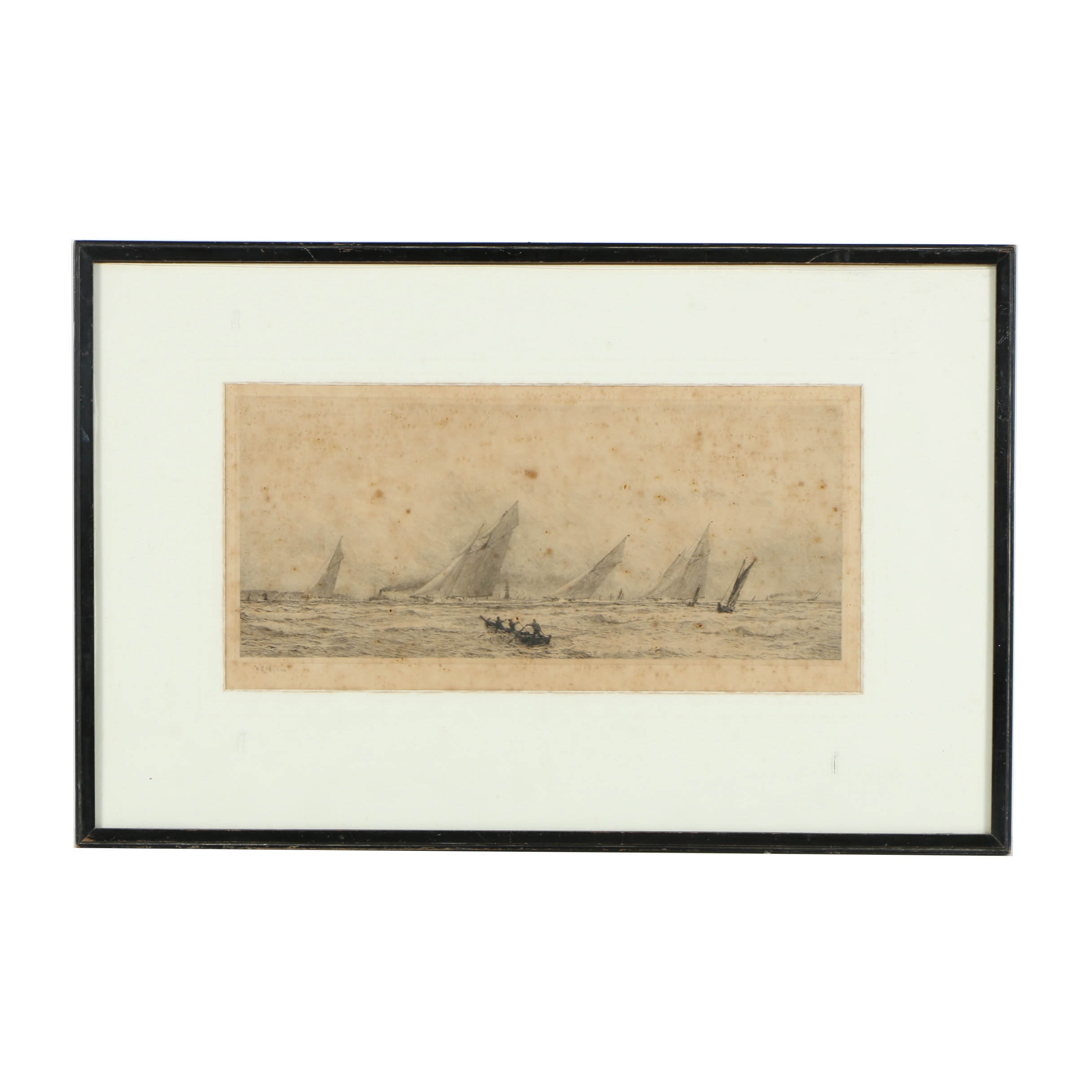 "W. L. Wyllie Drypoint Engraving on Paper ""Yacht Racing, Squally Weather"""