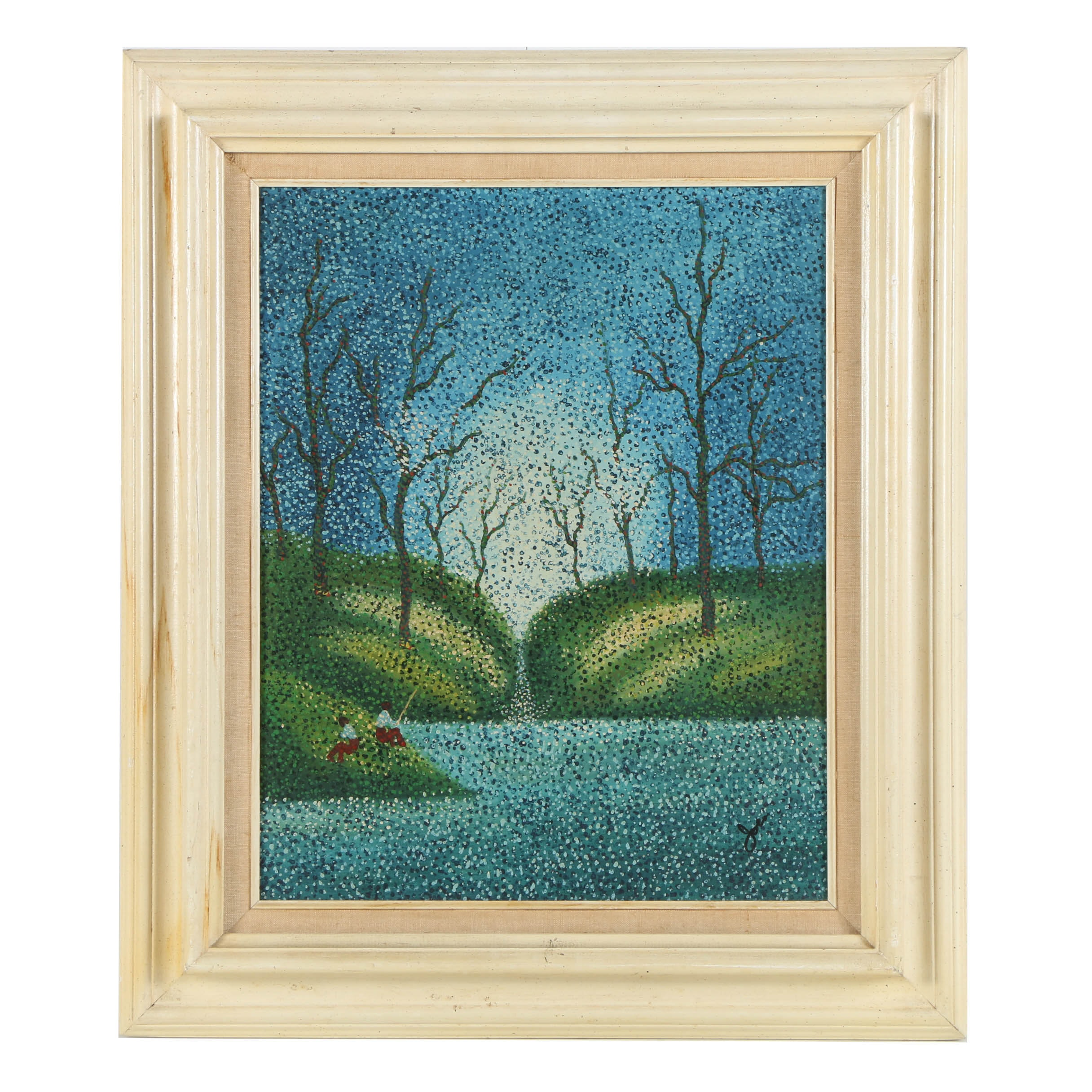 Oil Painting on Canvas Pointillism of Landscape
