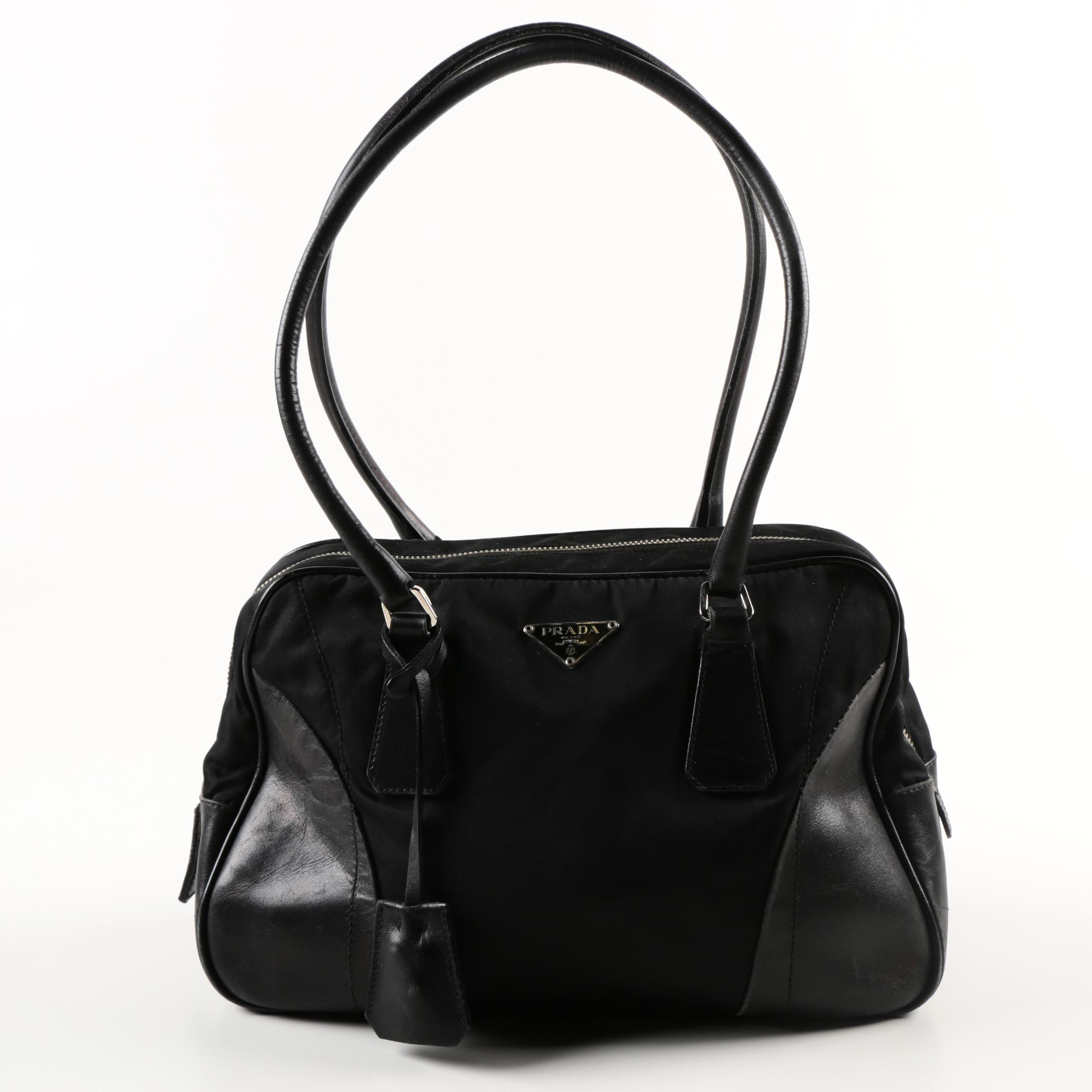 Prada Black Nylon and Leather Handbag