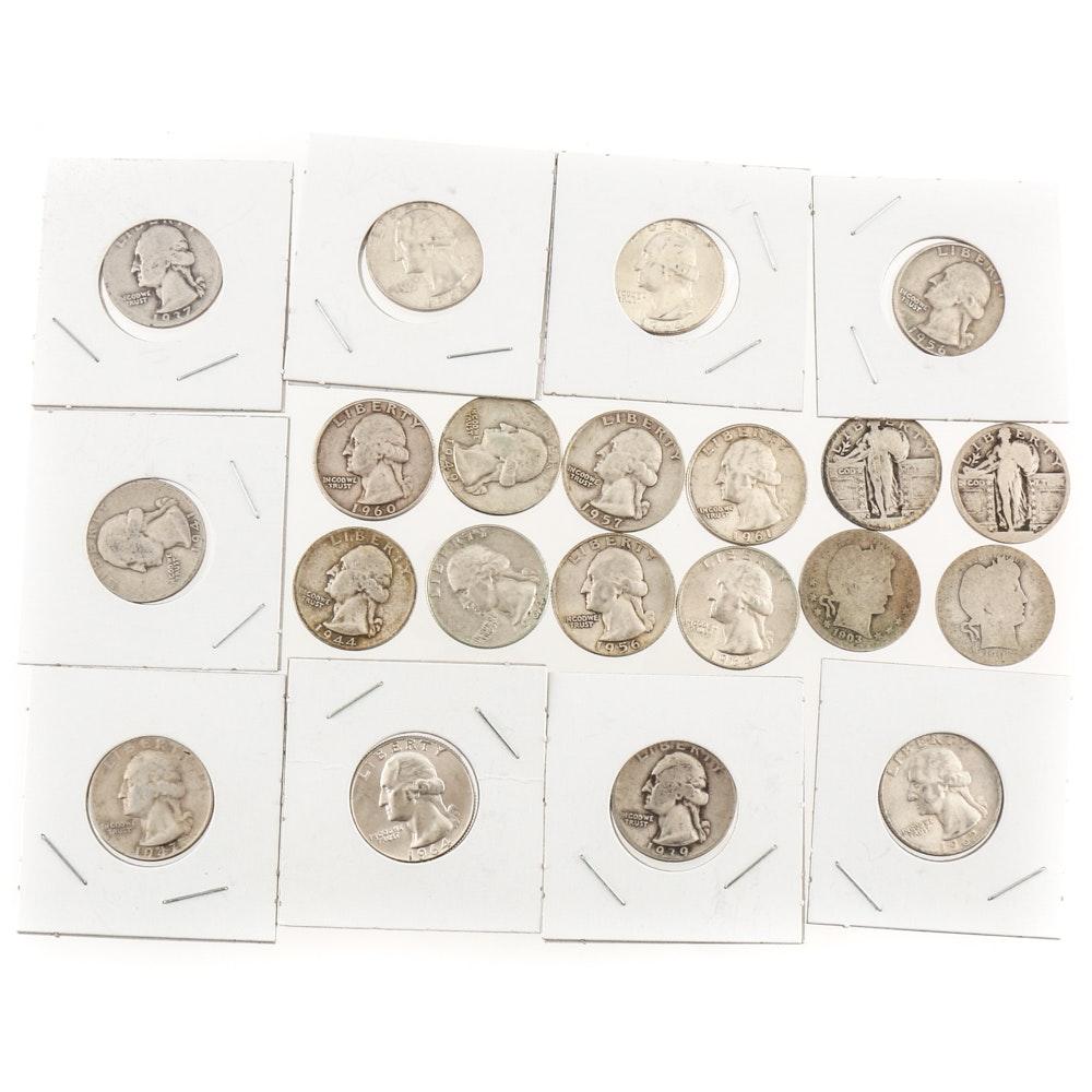 Twenty-One Vintage U.S. Silver Quarters