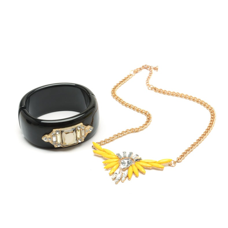Pairing of Statement Costume Necklace and Bracelet