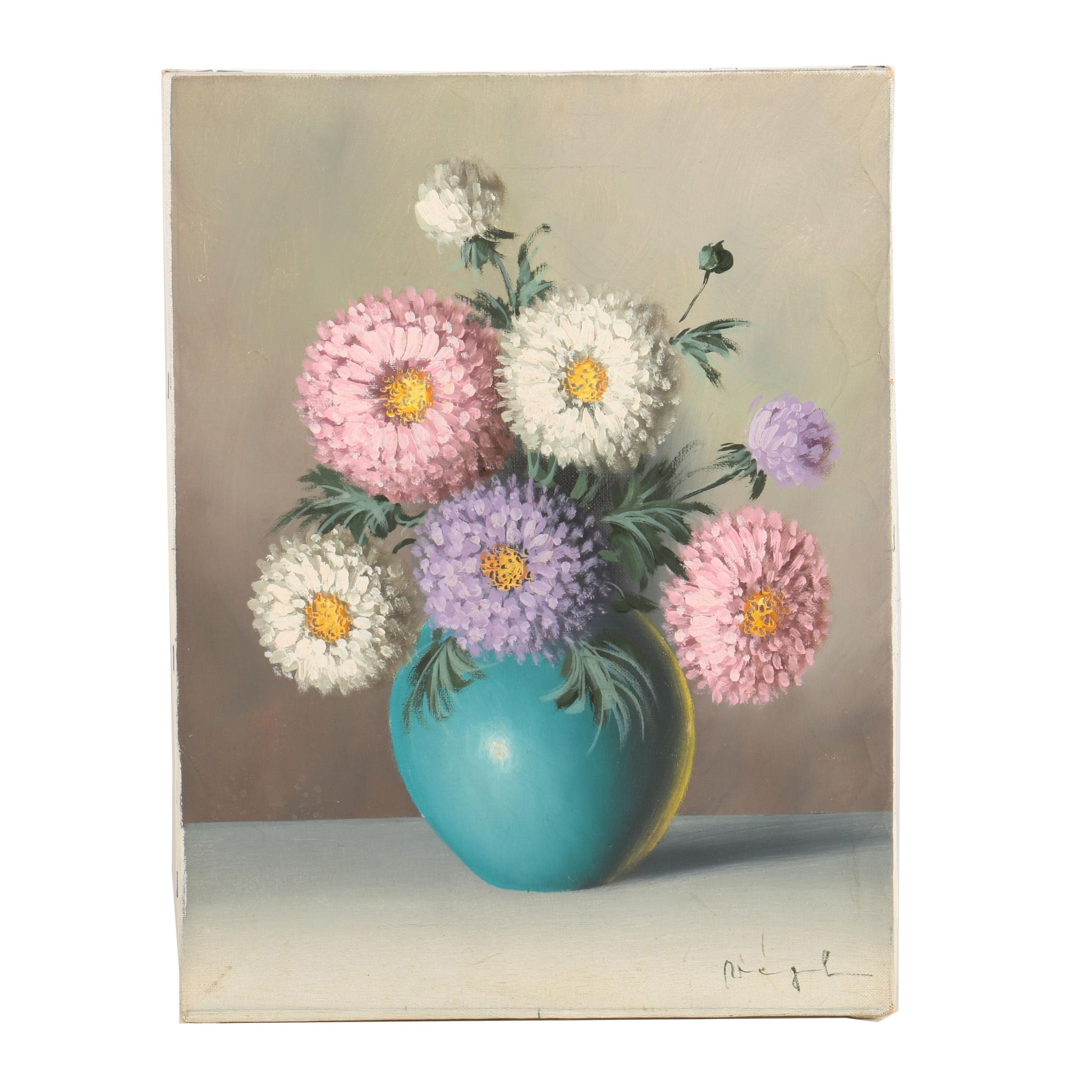 Oil Painting on Canvas of Chrysanthemums