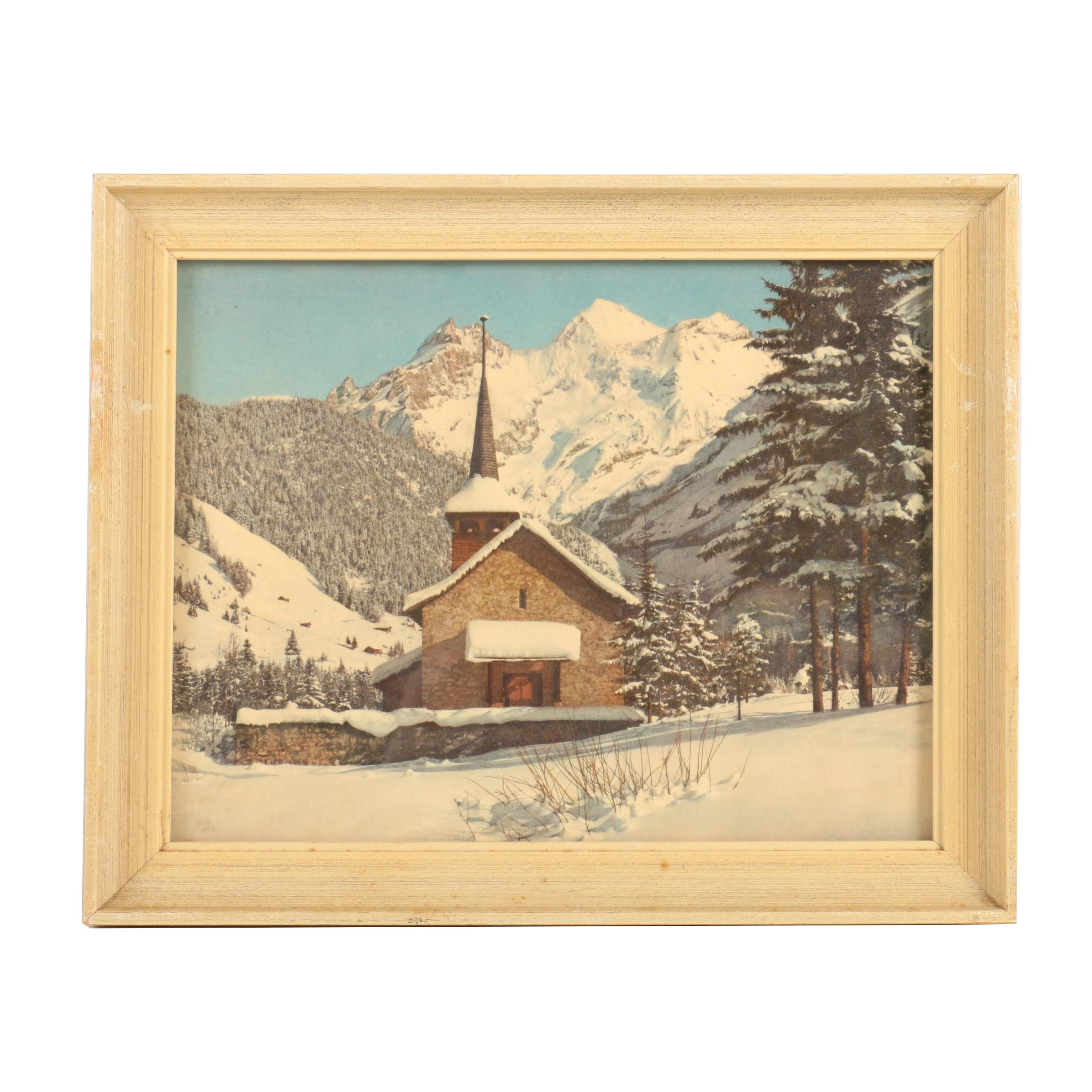 """Giclee on Paper """"Canderstag From Church Towards Blumis-Alp"""""""