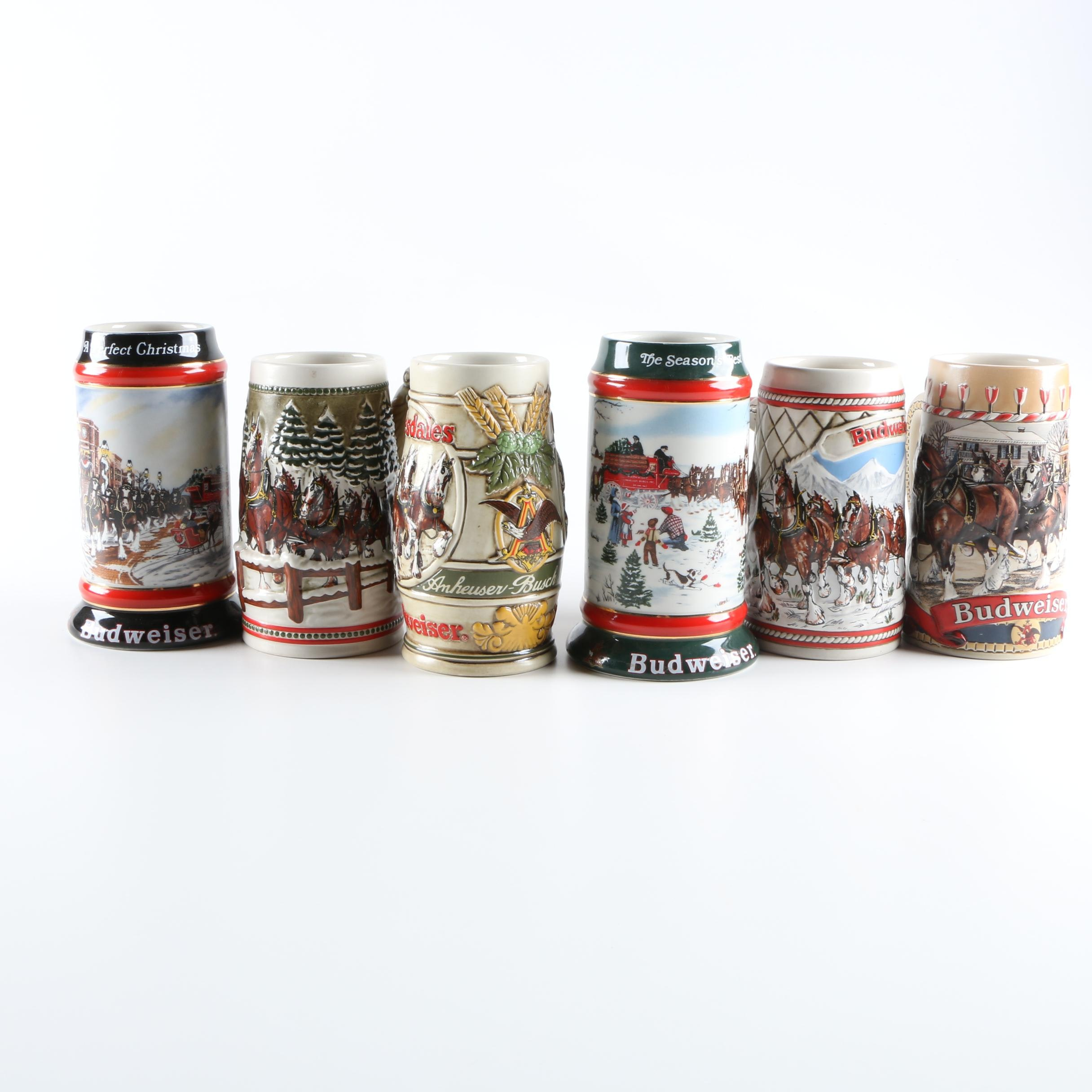 Six Budweiser Beer Steins