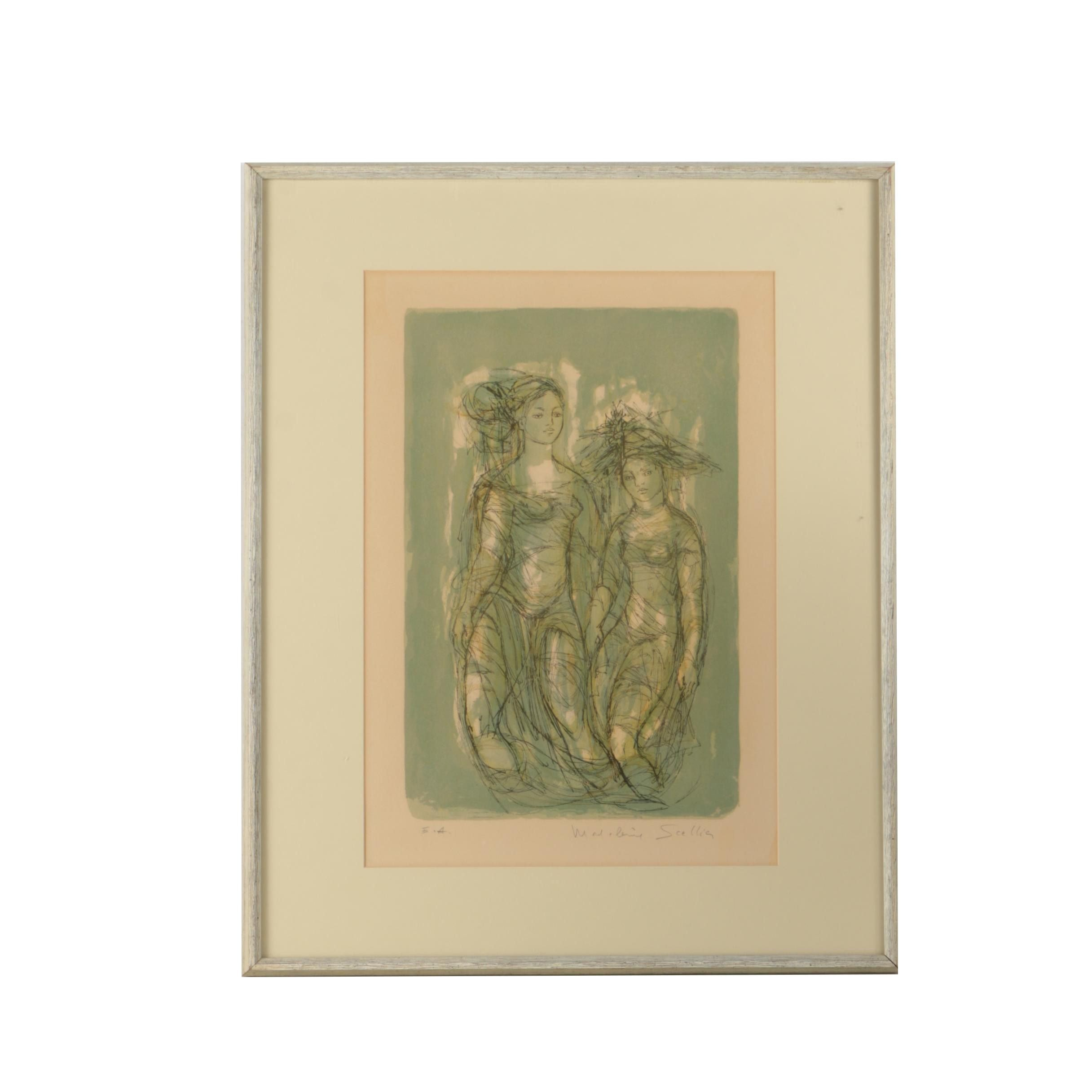 Madeline Scellia Artist Proof Hand Colored Lithograph of Women
