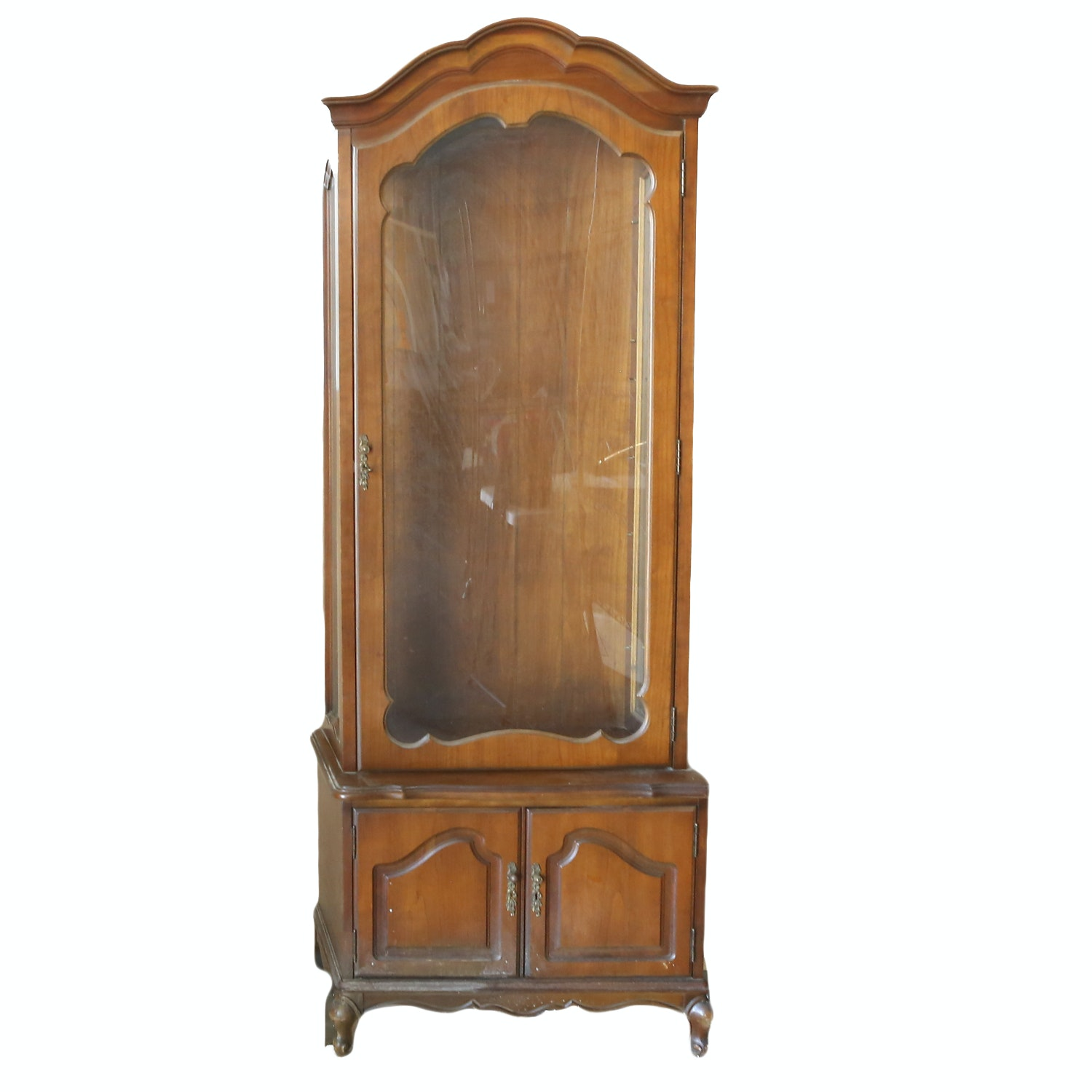 French Provincial Style Cherry Display Cabinet