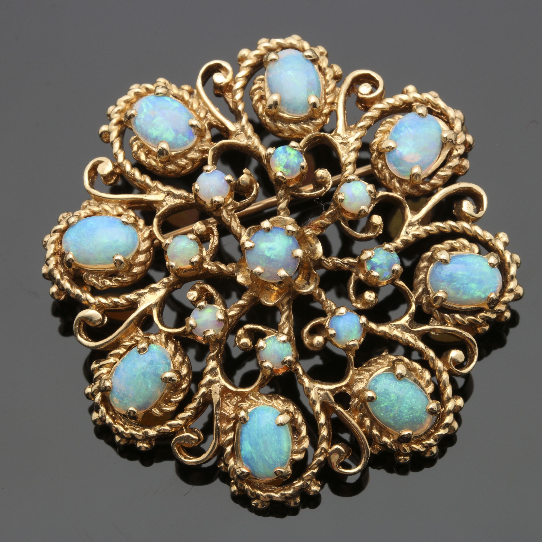 14K Yellow Gold Opal Brooch