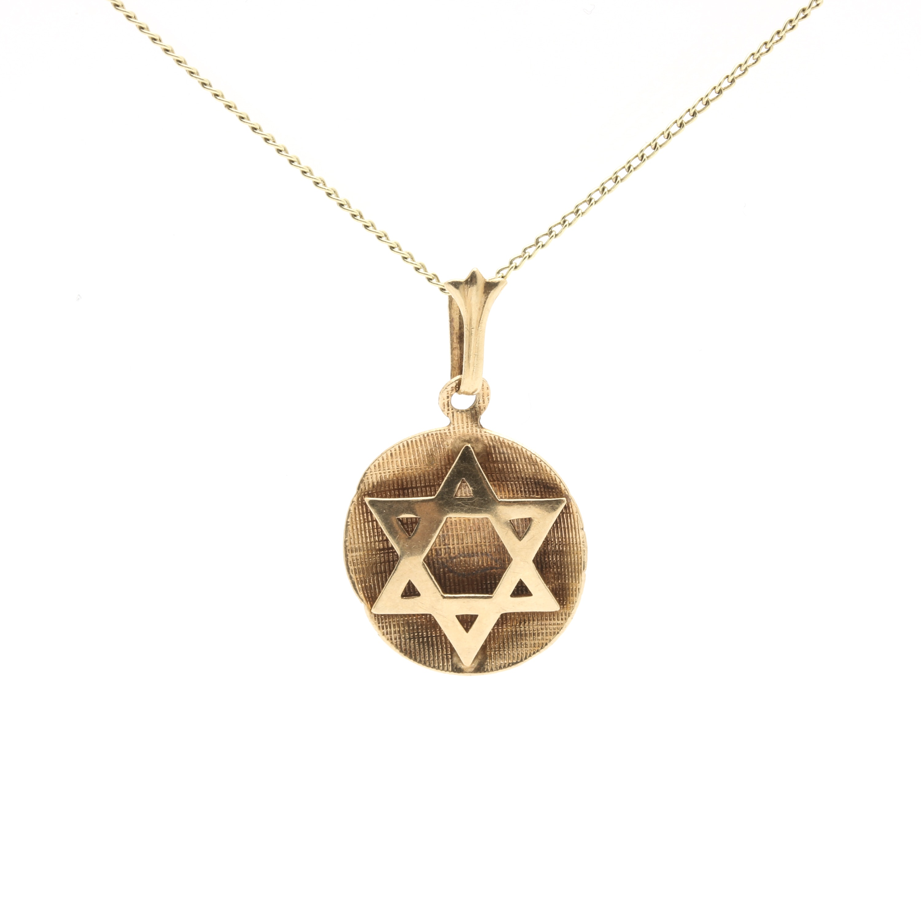 14K Yellow Gold Star of David Pendant Necklace