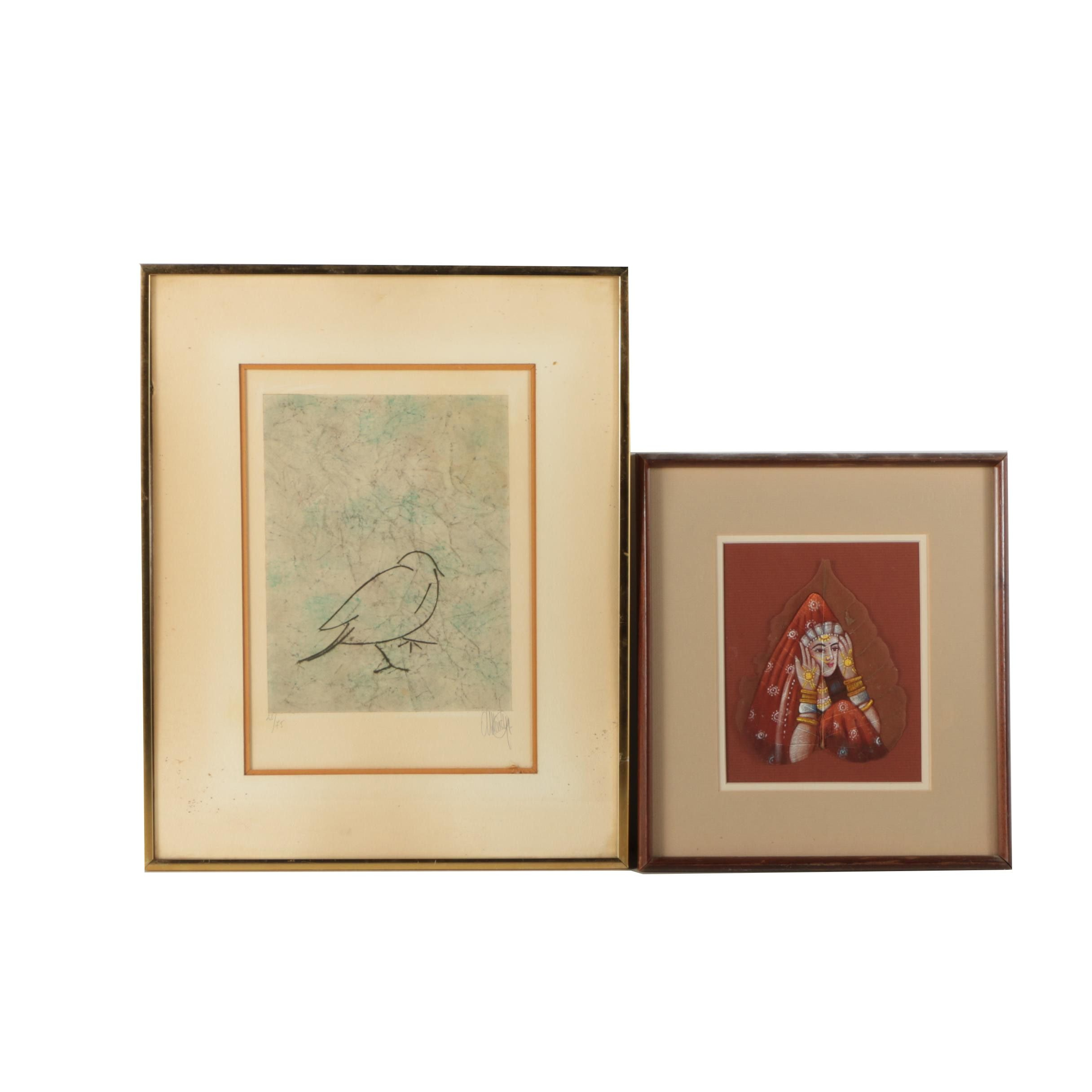 Limited Edition Lithograph with Portrait of an Indo-Persian Woman on a Leaf