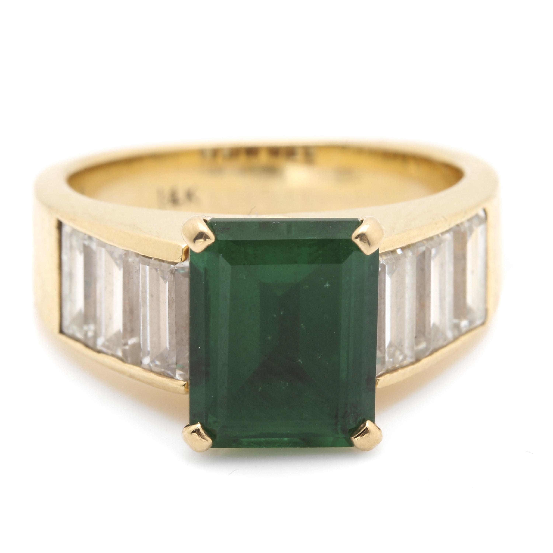 14K Yellow Gold Emerald and 2.22 CTW Diamond Ring